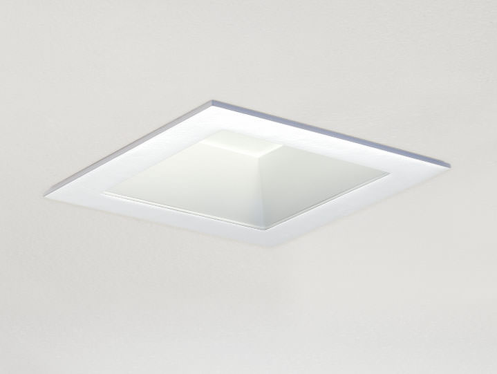 Square Trimmed Downlight or Adjustable in Matte White with Frosted Glass Lens