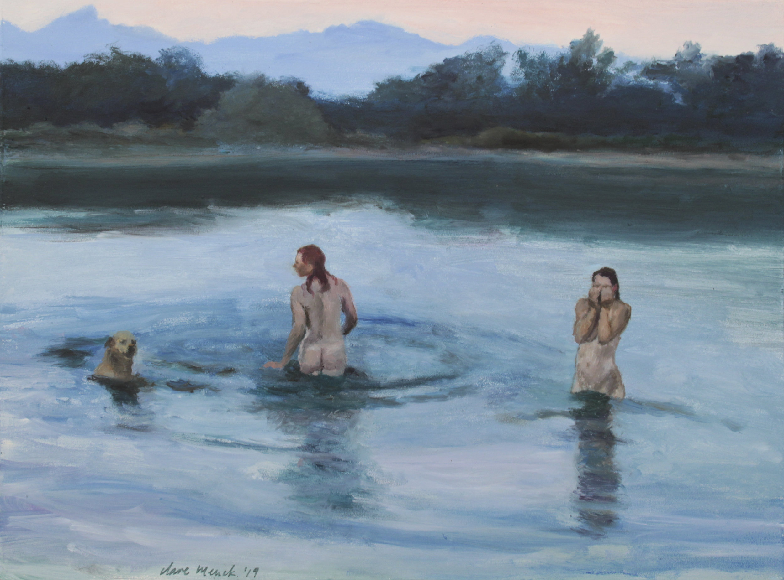 Bather couple with labrador, at dusk