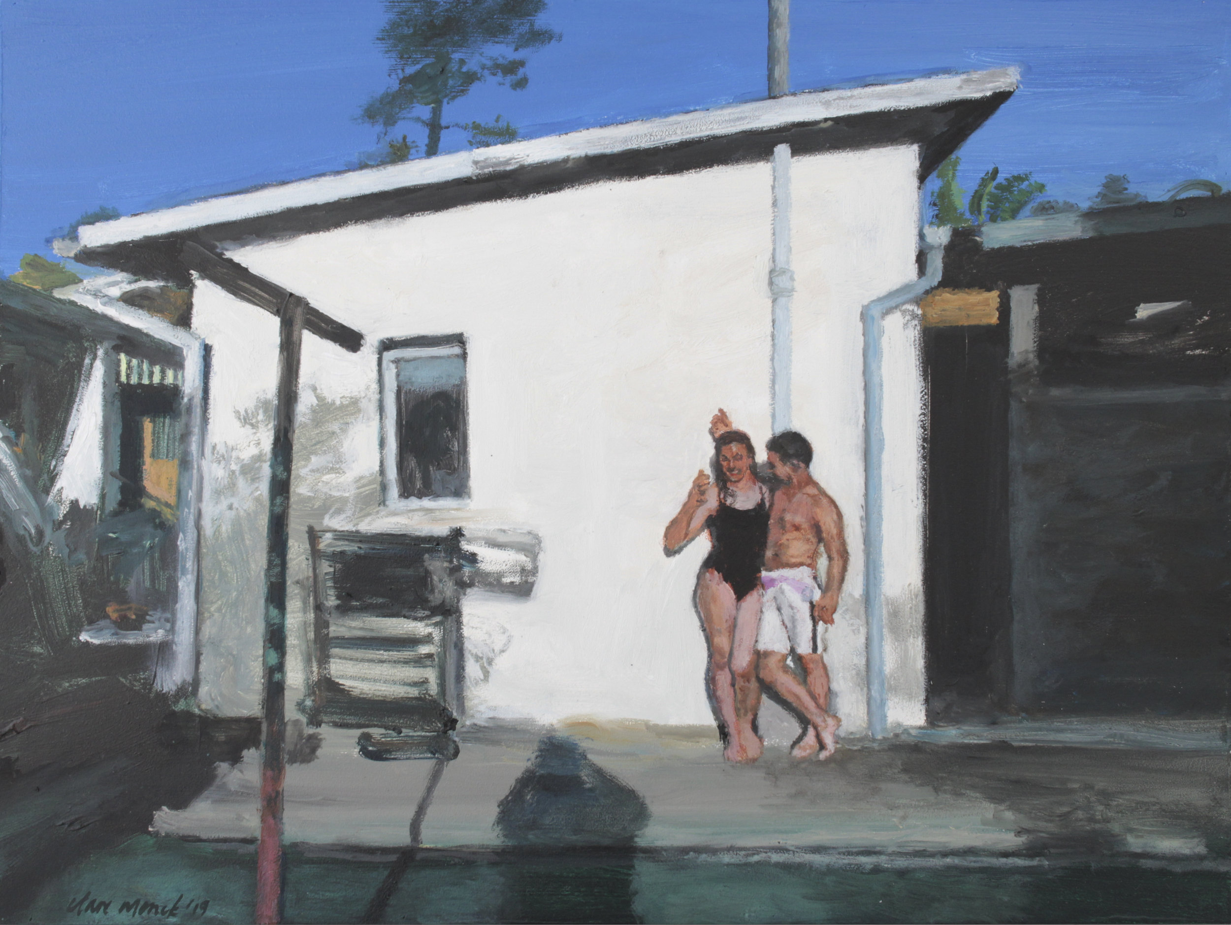 Bather couple in a back yard