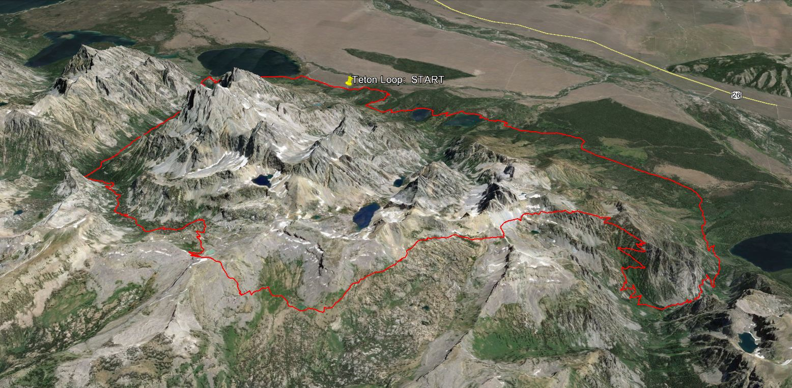 Teton Curcumnavigation  route overview, with a pin locating the Lupine Meadows Trailhead (the standard start).
