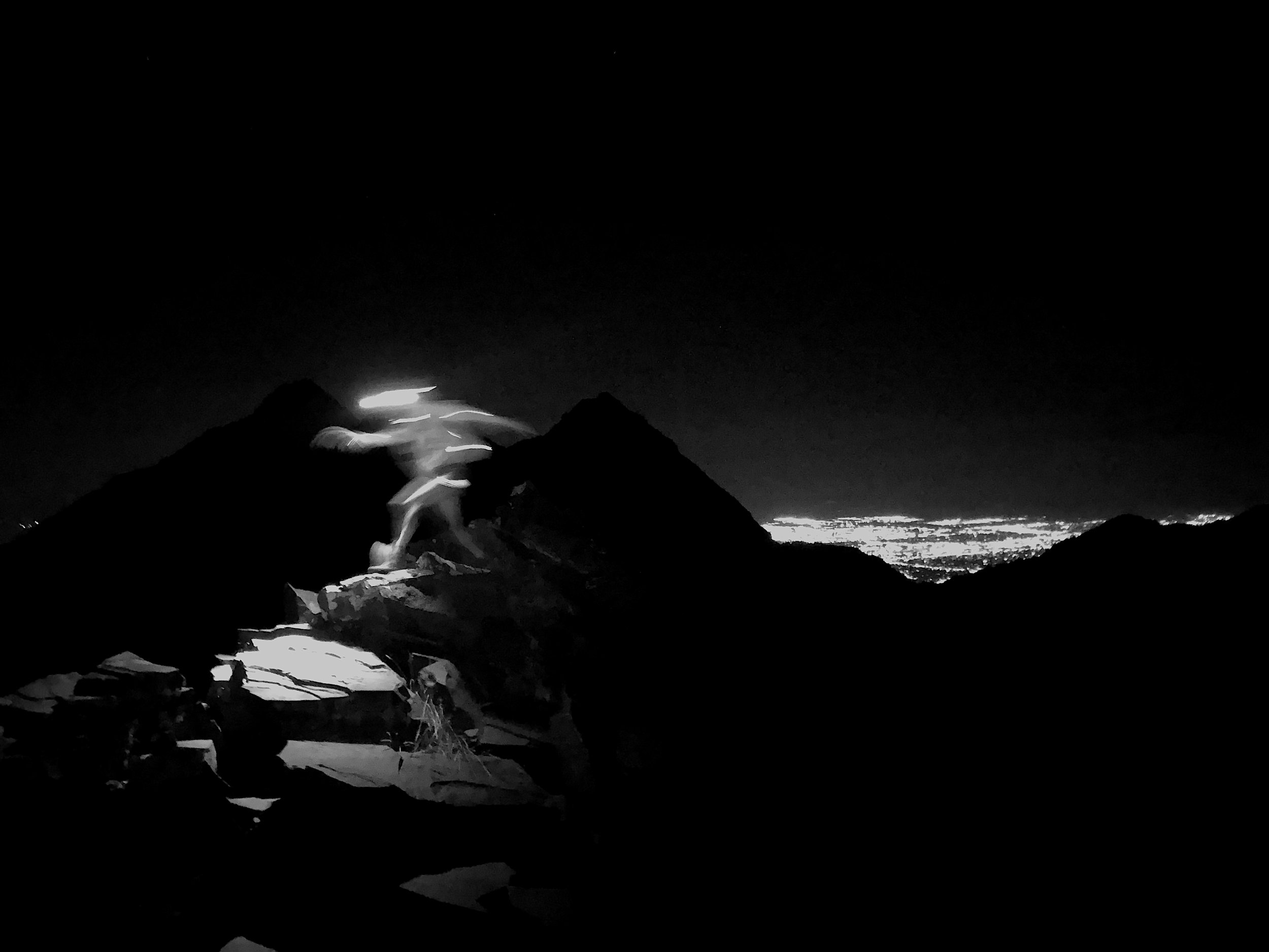 Cottonwood Ridge - Alexis on the Cottonwood Ridge around 2AM.3 peaks down, many to go…