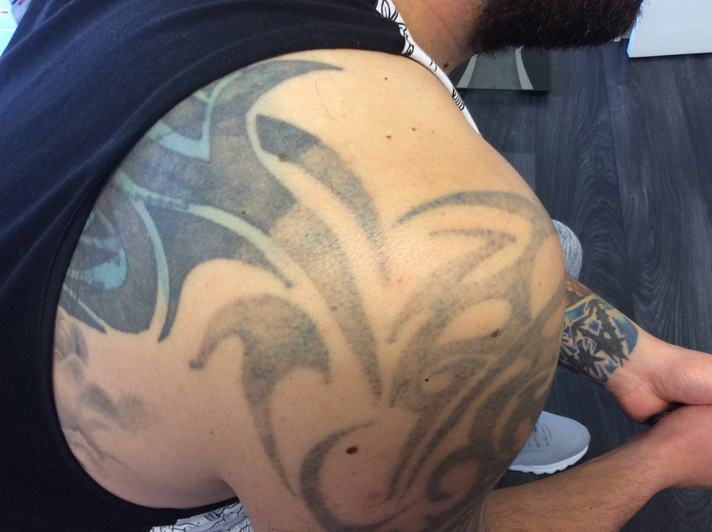 This tattoo half of it faded by Maria Patricia. Getting it ready for a new tattoo to go over