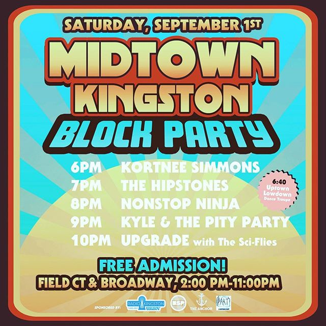 Block Party midtown Kingston today. It's a first. Free event. Live music. Fun for the kiddies too. Catch the Hipstones at 7pm #midtownkingstonny. It's all happening next door to @paktkingston
