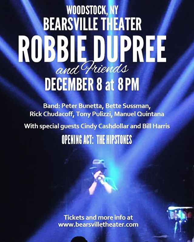 We are so excited to be able to announce that we will be supporting the lengendary #robbiedupree at the @bearsvilletheater Dec 8th. #stealaway @ashokantalent #yachtrock. Grab your tix via Bearsville Theater