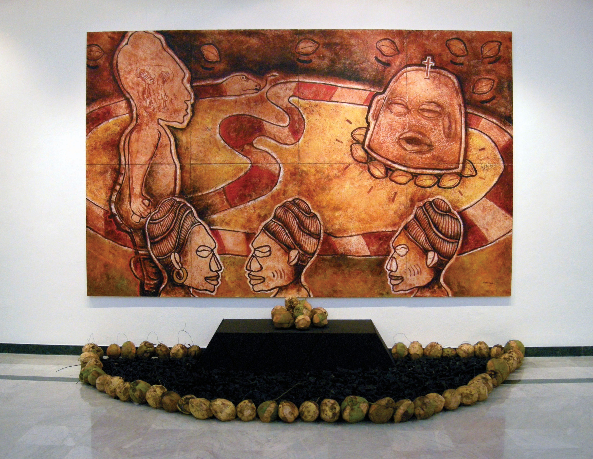 Archeology of Memory: They are Talking, 2010, Encaustic Painting on Linen, Wood Sculpture, Coconuts and Charcoal, Encaustic painting on linen, sculptures and organic material