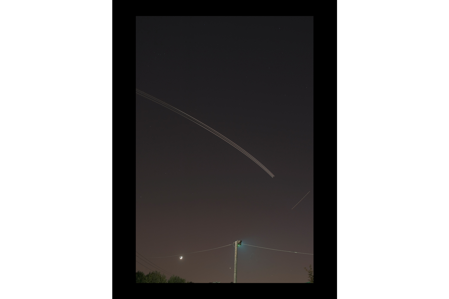 "#1671 Crescent Moon, Jet Trails, Teterboro, NJ, 2010, 26""x36"""