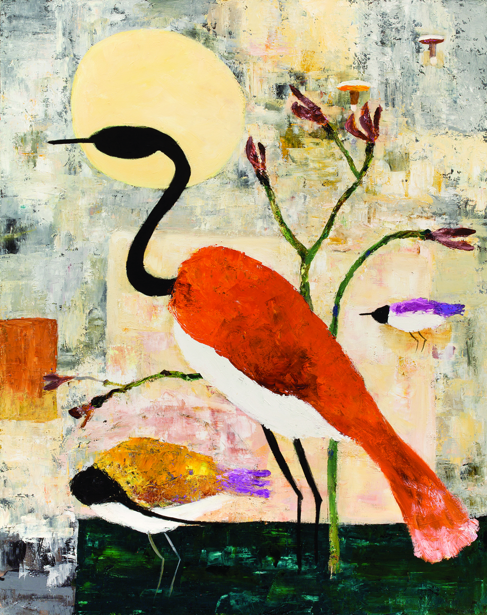 Red Heron and Moon, oil and canvas, 2010