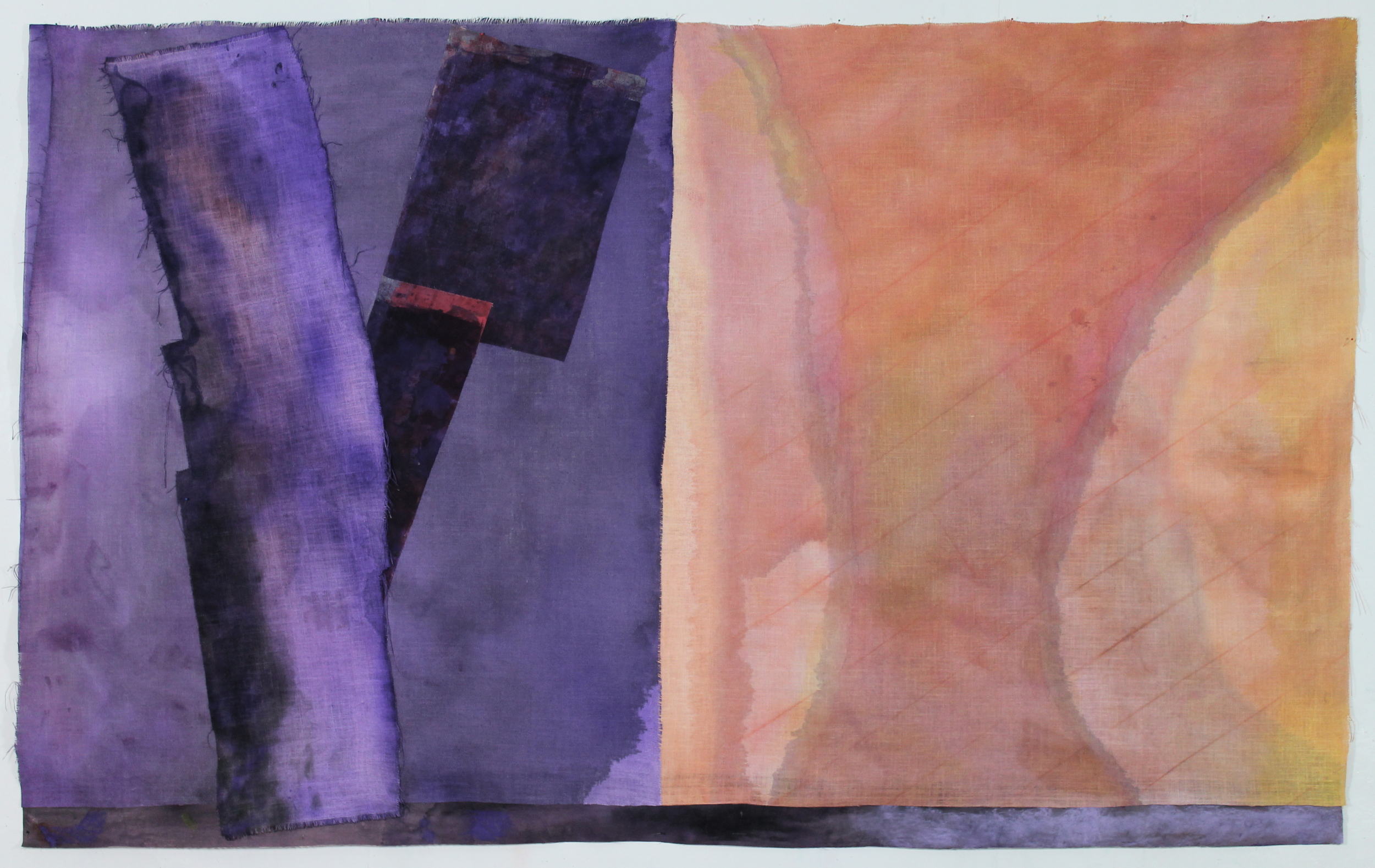 """We Are Double Within Ourselves, 5'3"""" x 8'10"""", burlap, paint, and canvas, 2014"""