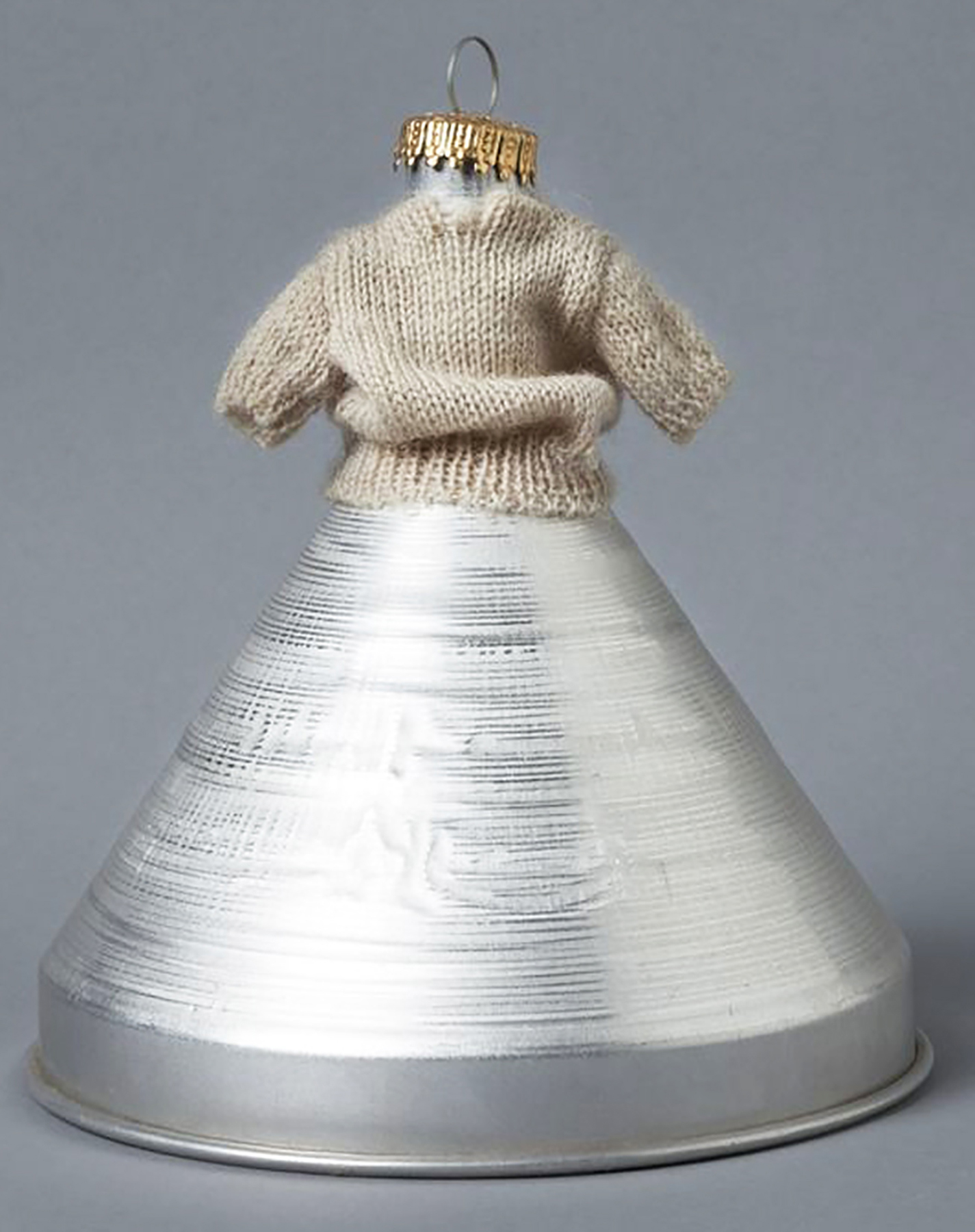 "Merry, 6.5"" x 5.5"" x 5.5"", Found aluminum funnel, wool, and tin, 1994"