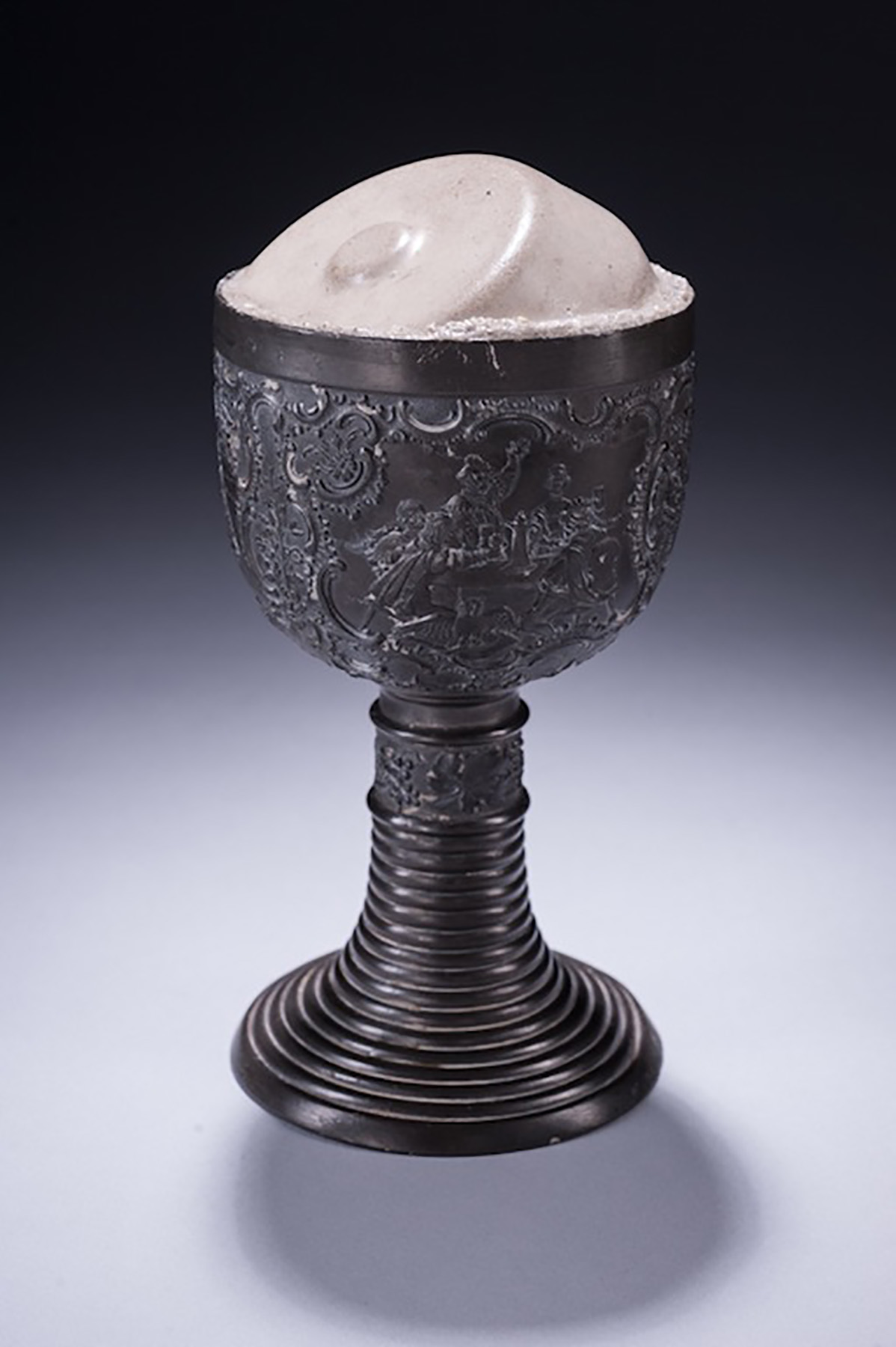 "Thirst, 9"" X 4"" X 4"", Found pewter chalice and cast cement, 2014"