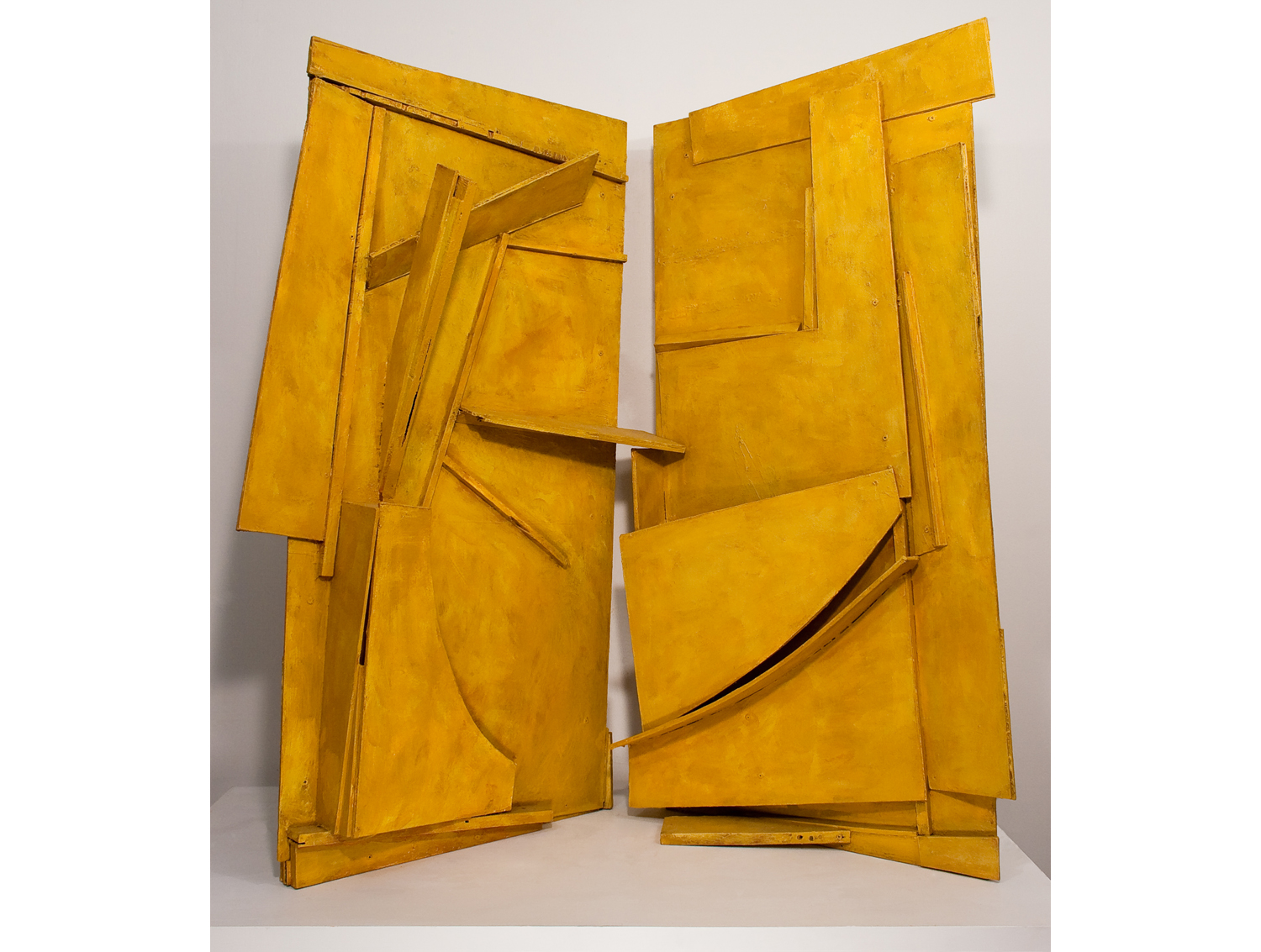 "Duet, found wood, acrylic, cement, ochre, 50"" x 64"" x 42"", 2014"