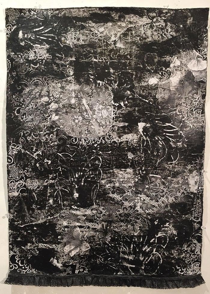 "Pillars of Light, mixed media on paper, 30 x 22"", 2015"