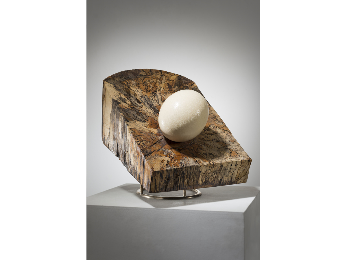 "Engagement, spalted maple-sterling silver-ostrich egg, 16"" x 11.5"" x 13"", 2015"
