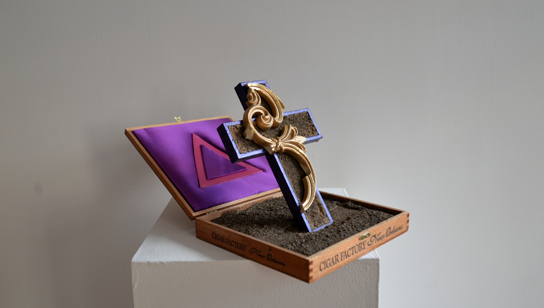 "Renaissance, wood cigar box, earth, wood, ornamental filigree applique, and satin, 8"" x 8.5"" x 14"", 2014"
