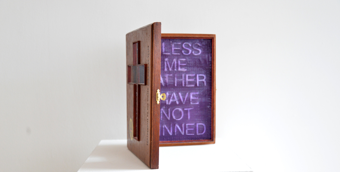 "Confessional, wood cigar box, plaster, textiles, plastic letters, and acrylic, 10"" x 14"" x 4"", 2014"