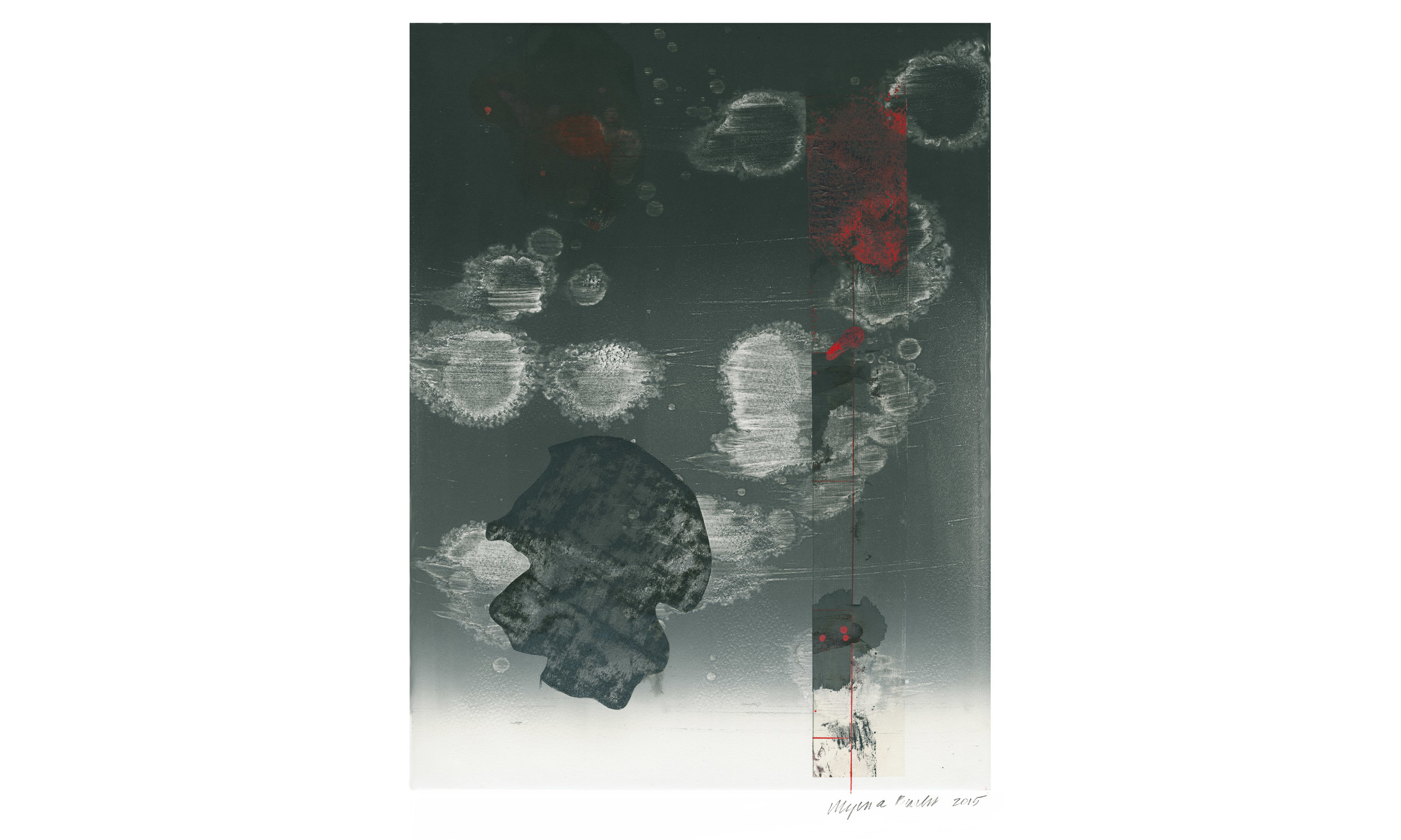 "Thunderstorm, monotype on Somerset rag paper, 25.4"" x 18"", 2015"