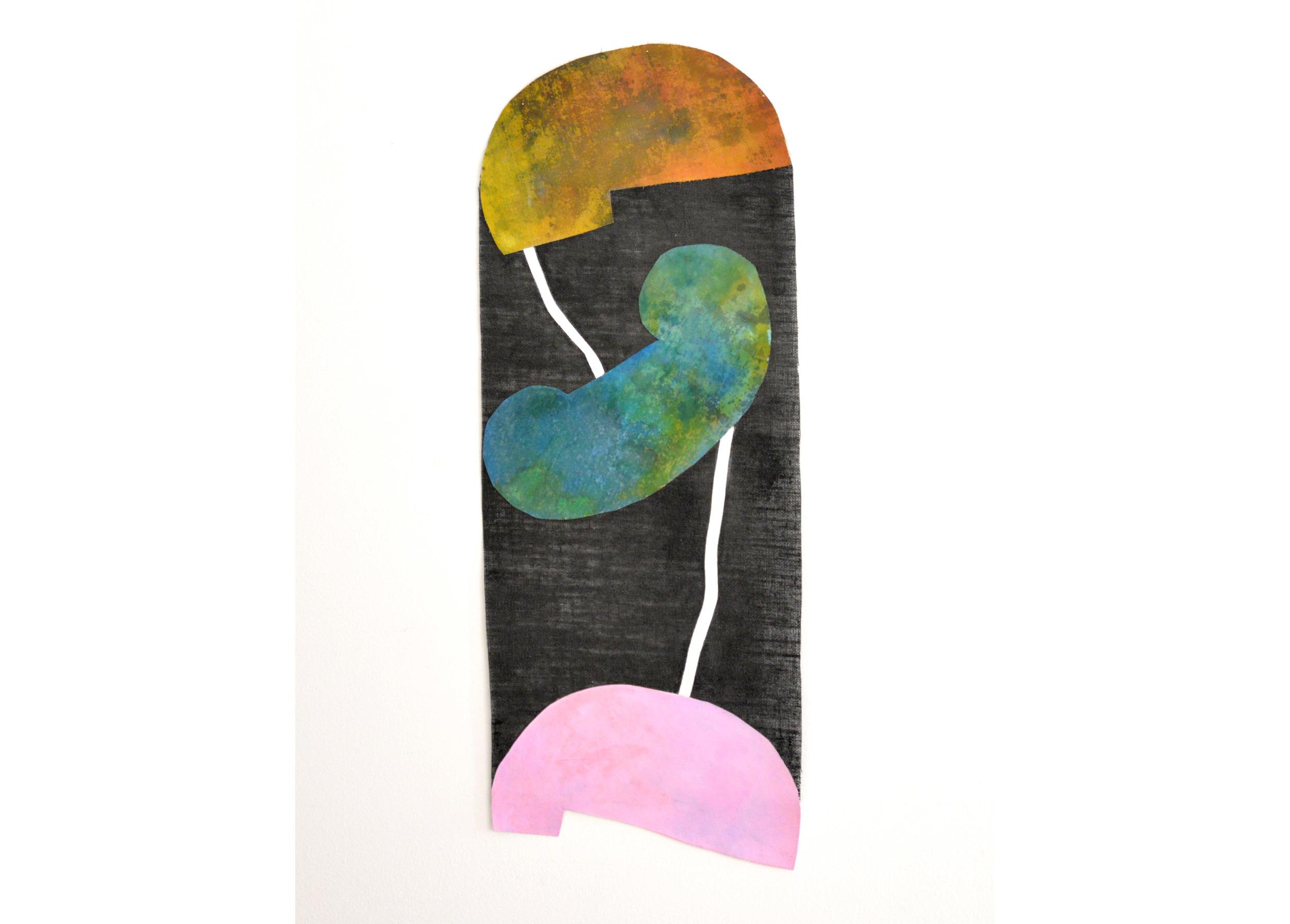 "Study for Head Heart Hand, Acrylic on jute and canvas, 38.5"" x 13"", 2016"