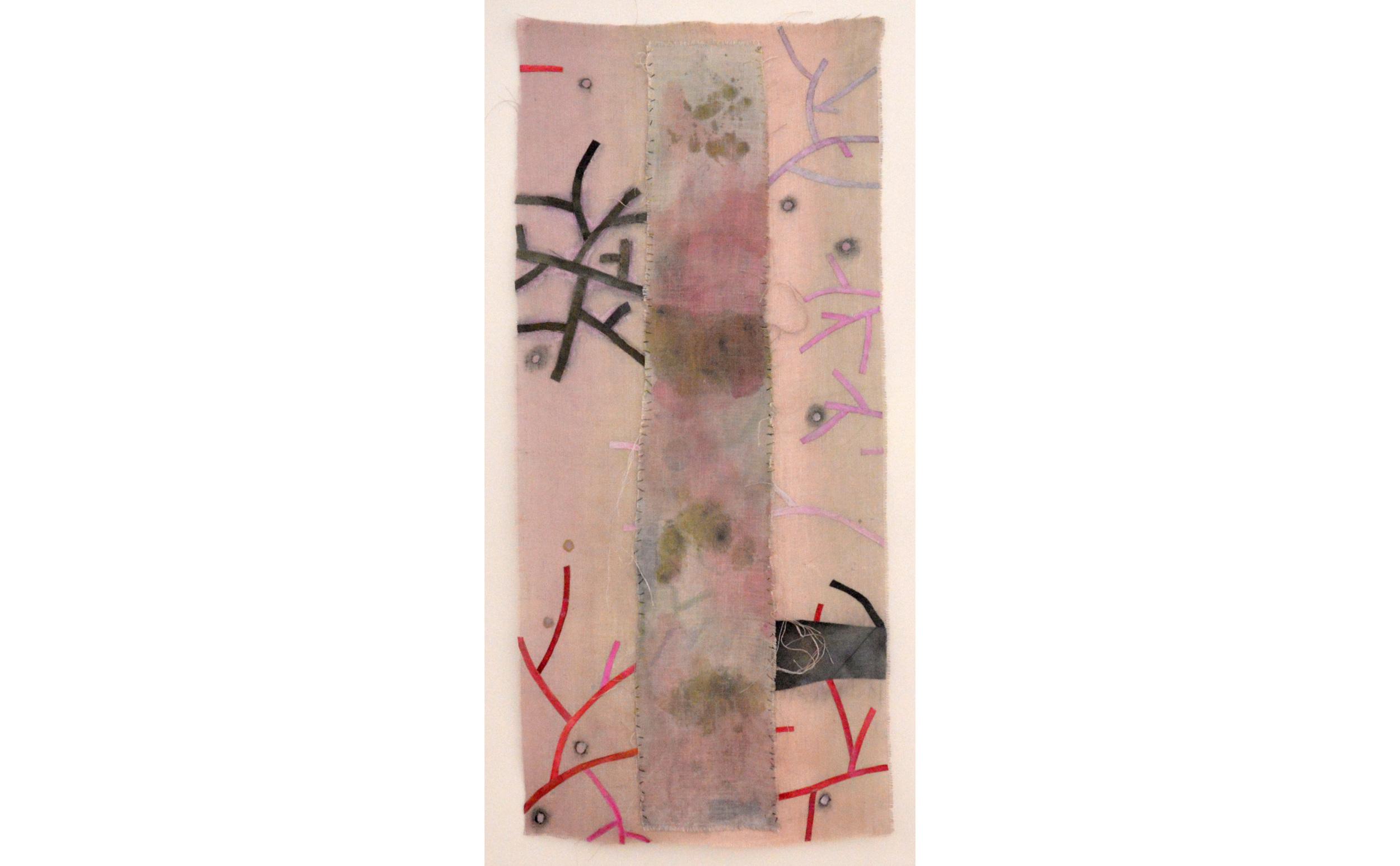 "Branching I, Acrylic on jute and buckram, 64"" x 28"", 2016"