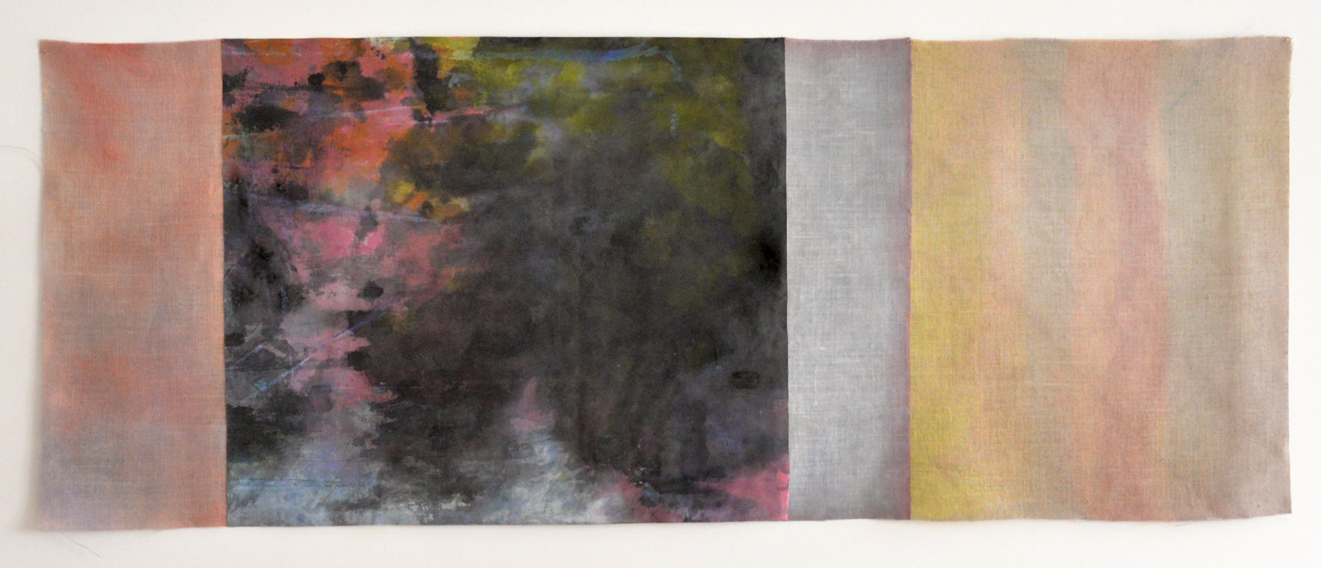 "Let Heaven Kiss Earth, Acrylic on jute and canvas, 28.5"" x 75"", 2015"