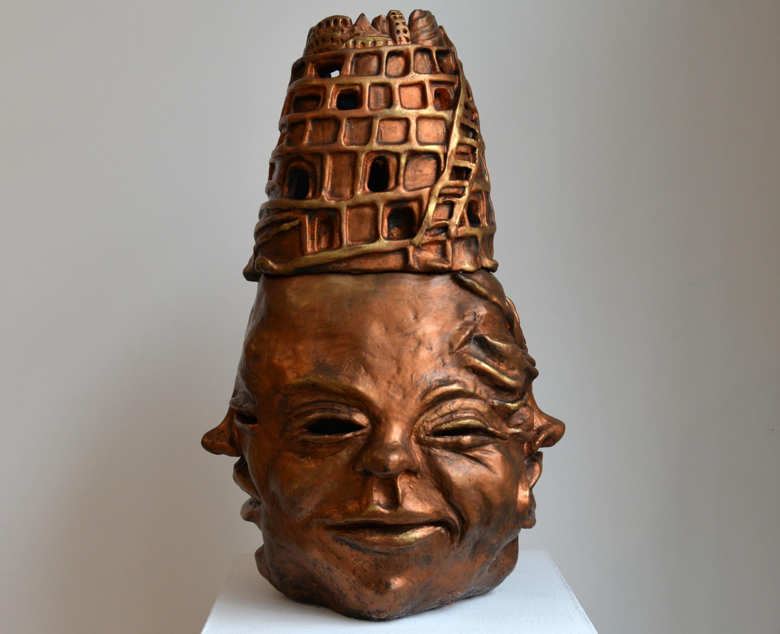 """Babel Buddha, Glazed ceramic, 20"""" x 12"""" x 12"""", 2015"""