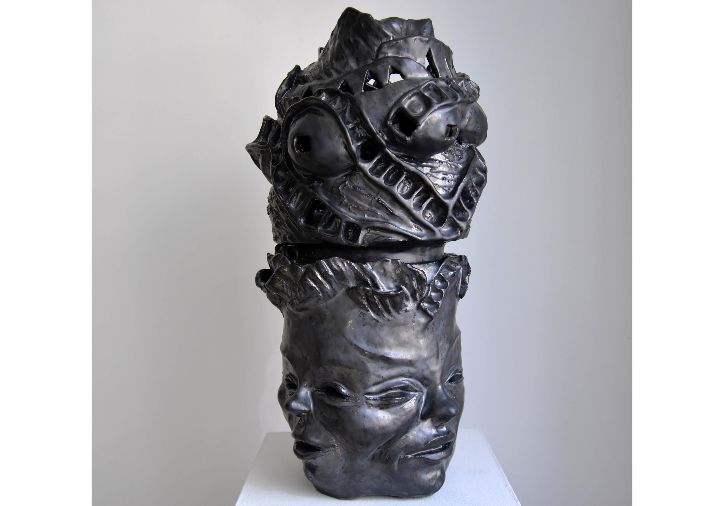 """Four Sided Girl, Glazed ceramic, 20.5"""" x 10"""" x 11"""", 2015"""
