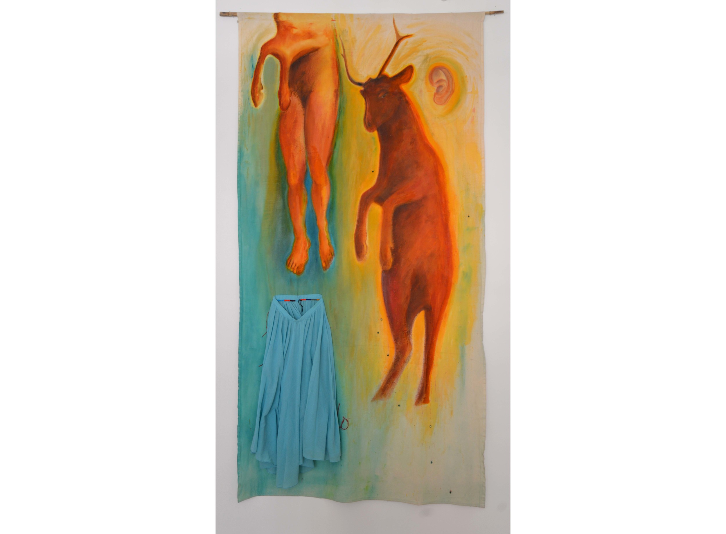 """Ascoltando (Listening), Dyed cotton duck with skirt, 108"""" x 55"""""""