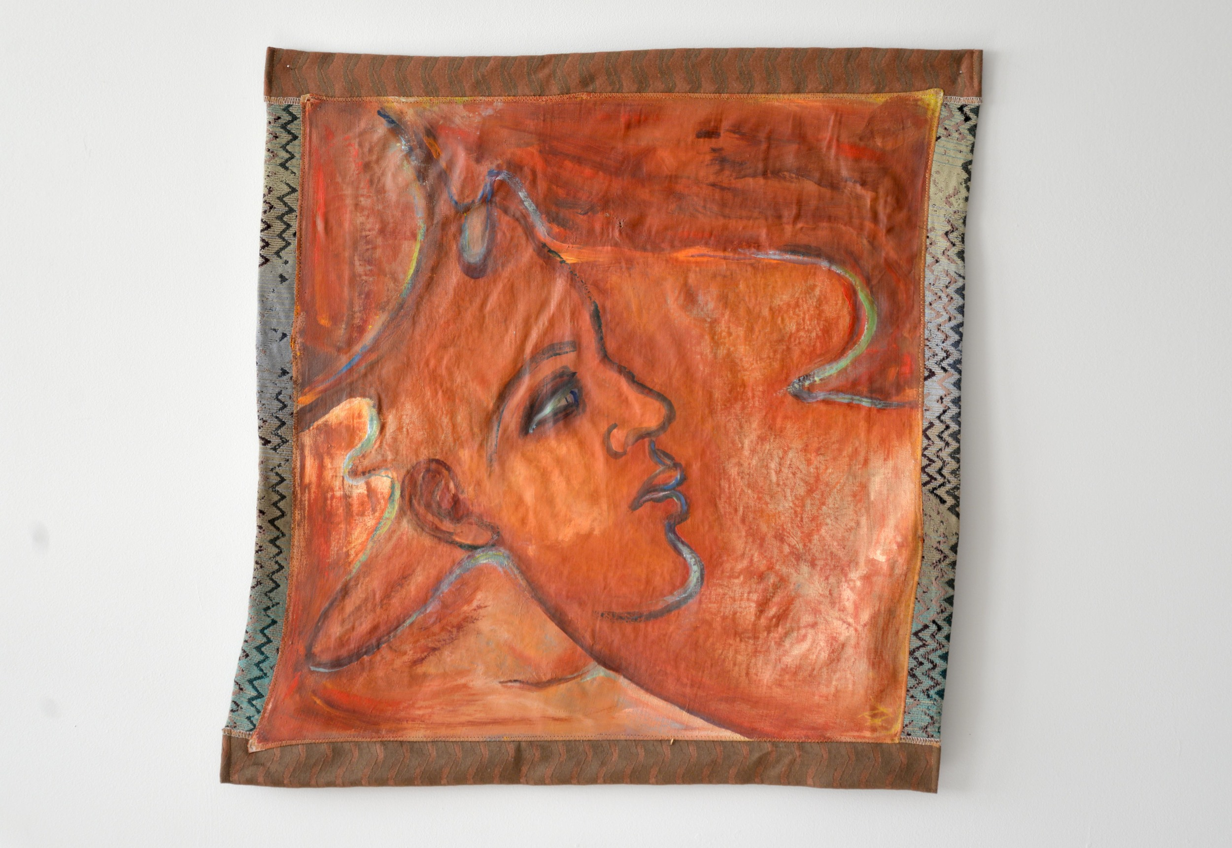 """Deerness II, Fabric and acrylic on linen, 24.5"""" x 24.5"""""""