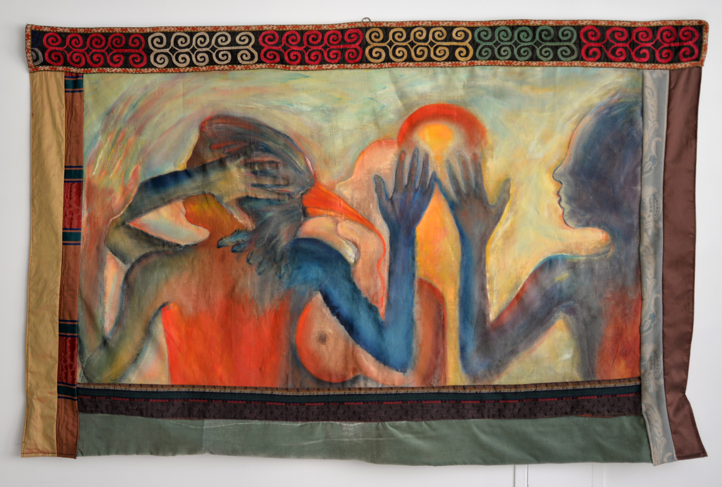 """Puppet Show in Istanbul, Fabric and acrylic on canvas, 40"""" x 62"""""""