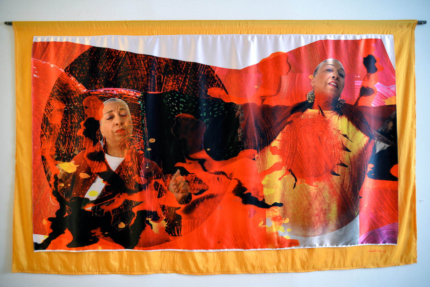 """The Fire Inside, Dye sublimation print on fabric with fabric backing, 55"""" x 89"""", 2016"""