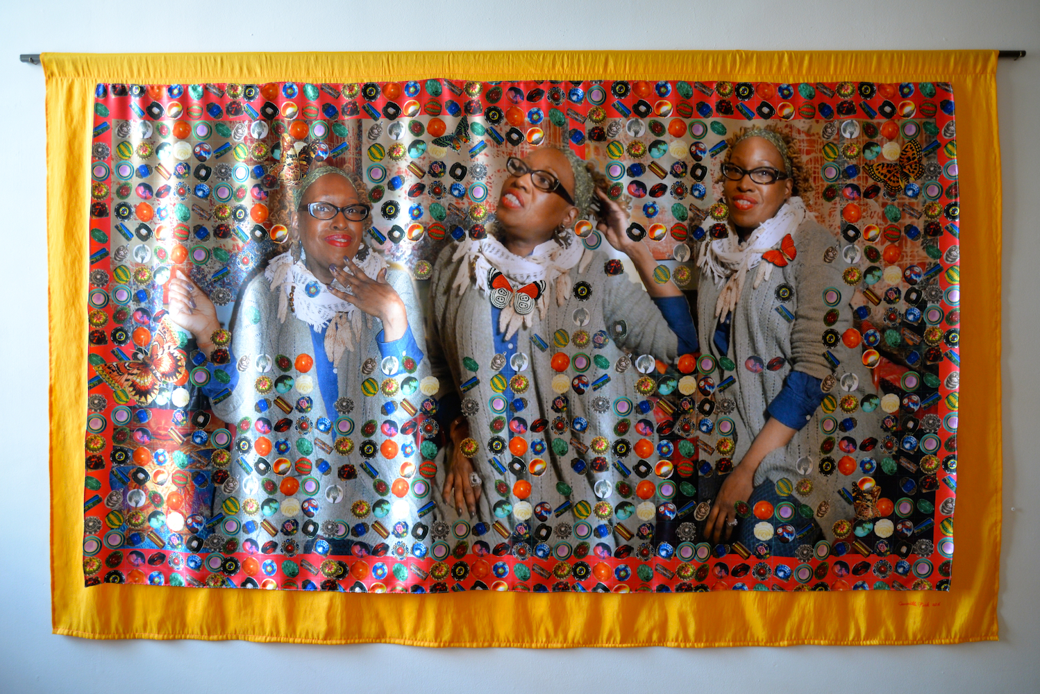 """The Secret Life of Beads, Dye sublimation print on fabric with fabric backing, 54.5"""" x 90"""", 2016"""