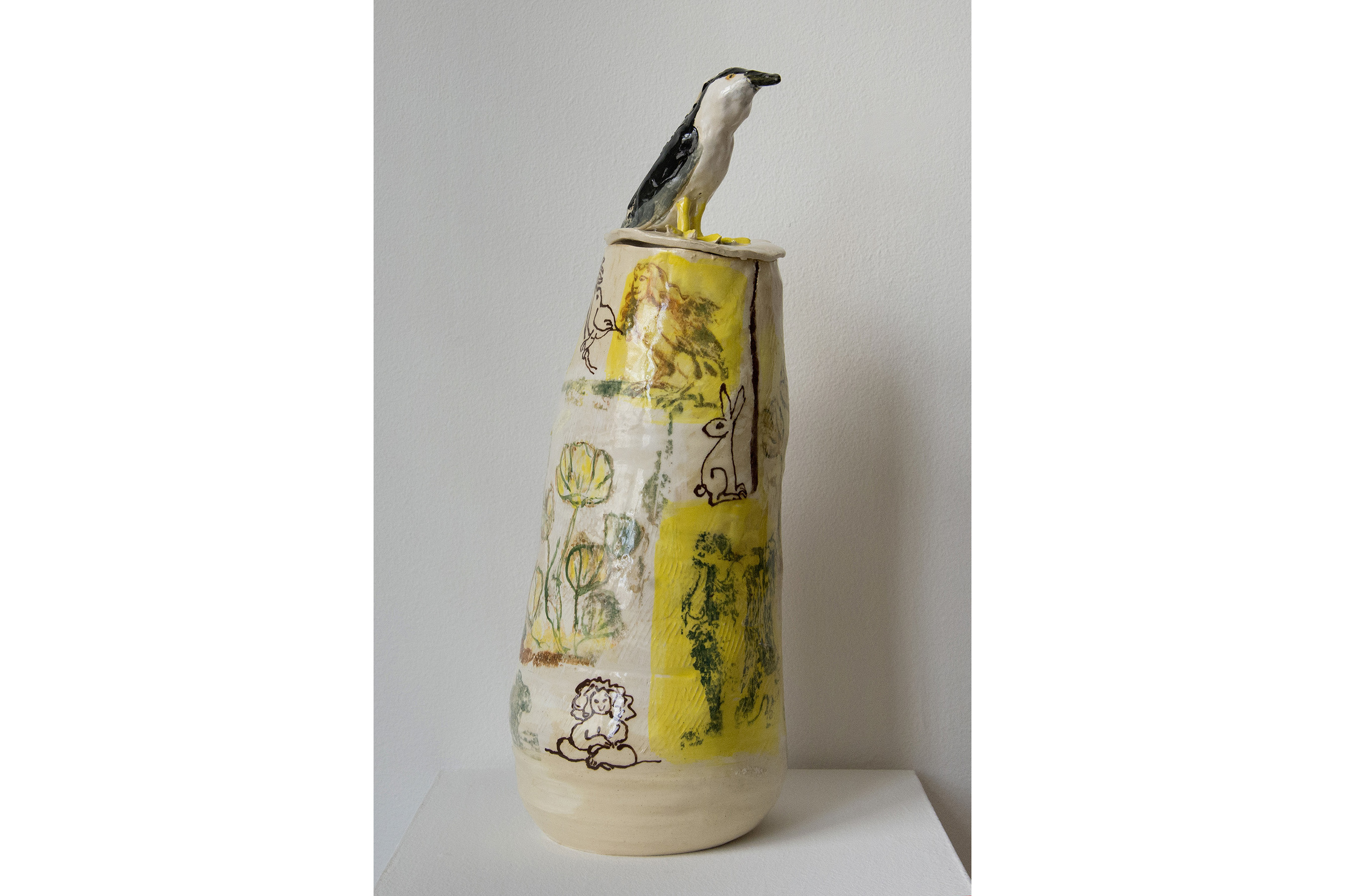 "Kate Missett Night Crowned Heron Glazed stoneware 19.5"" x 7"" x 7"""