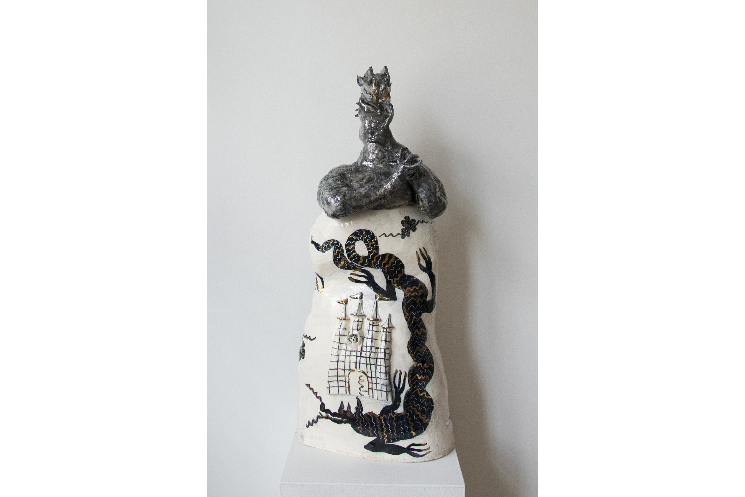 "Kate Missett Dragons Surround Us Glazed porcelain with luster 34"" x 10"" x 8"""