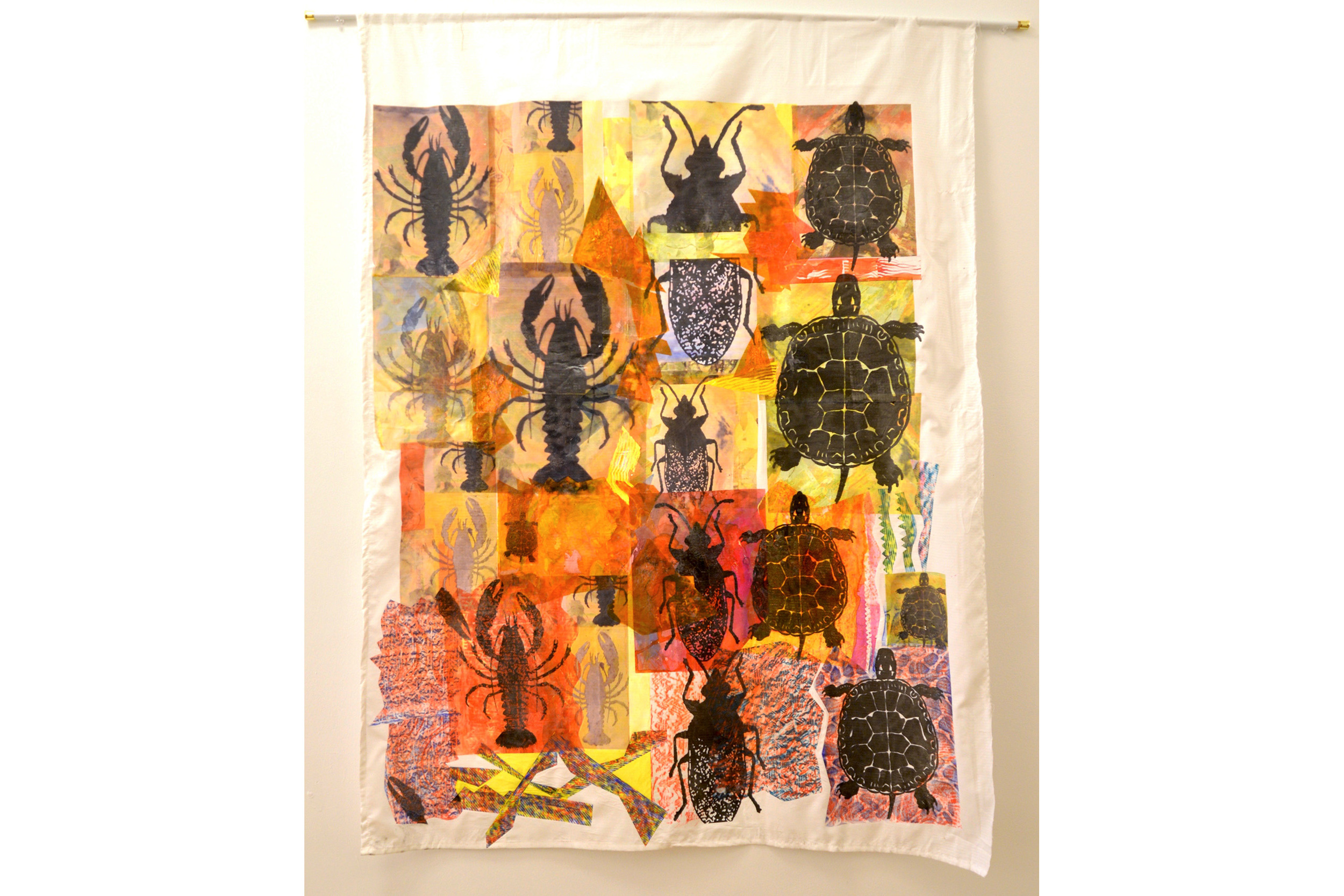 "Cari Rosmarin Bug, Lobster and Turtle Mixed media on cloth 51"" x 38"", 2016"