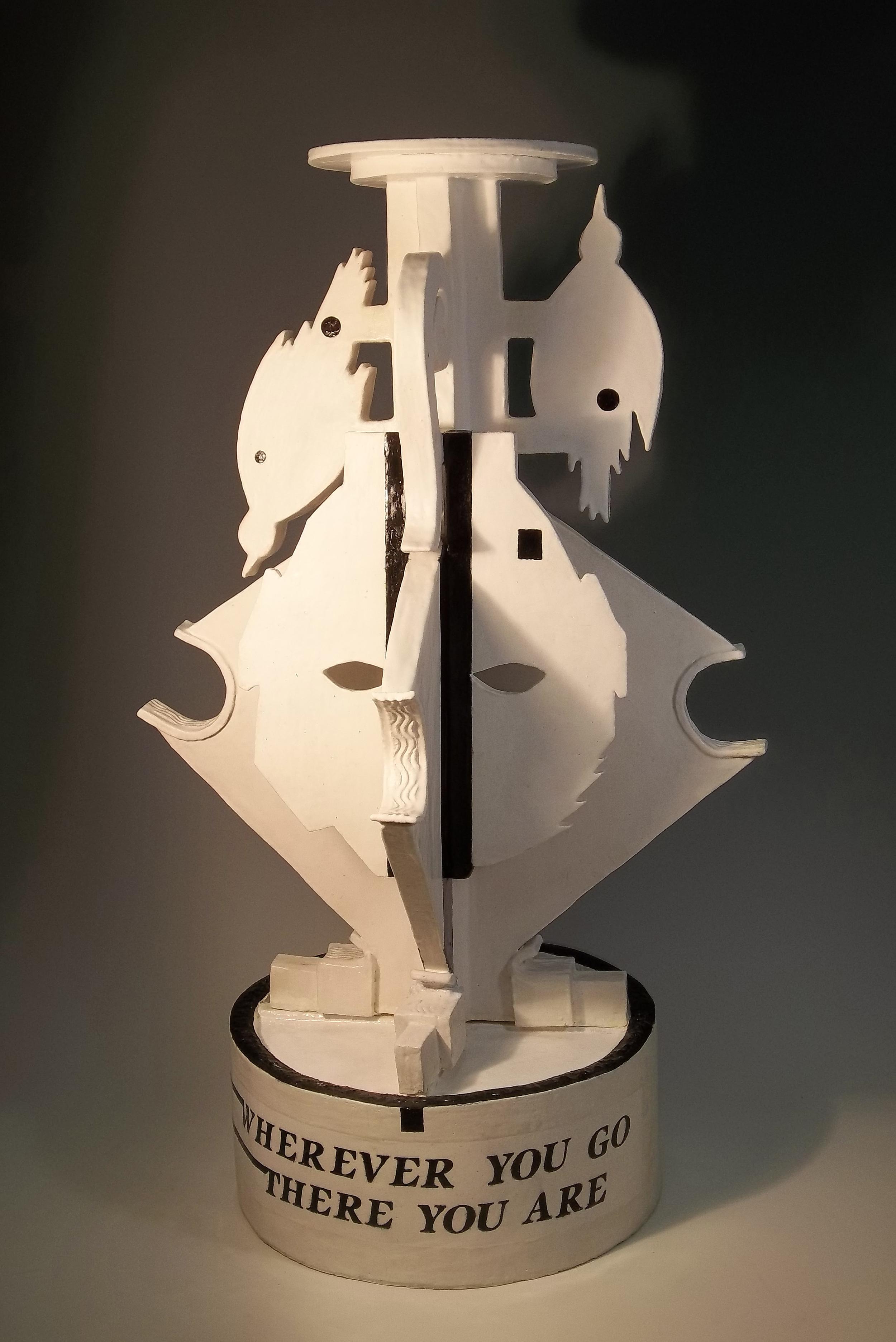 """""""Self portrait in yoga headstand"""" ceramic sculpture, 27"""" x 15"""" x 15"""", 2014"""