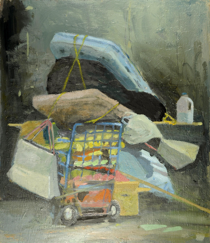 """Ballast Cart, oil on panel, 12"""" x 14"""", 2015"""