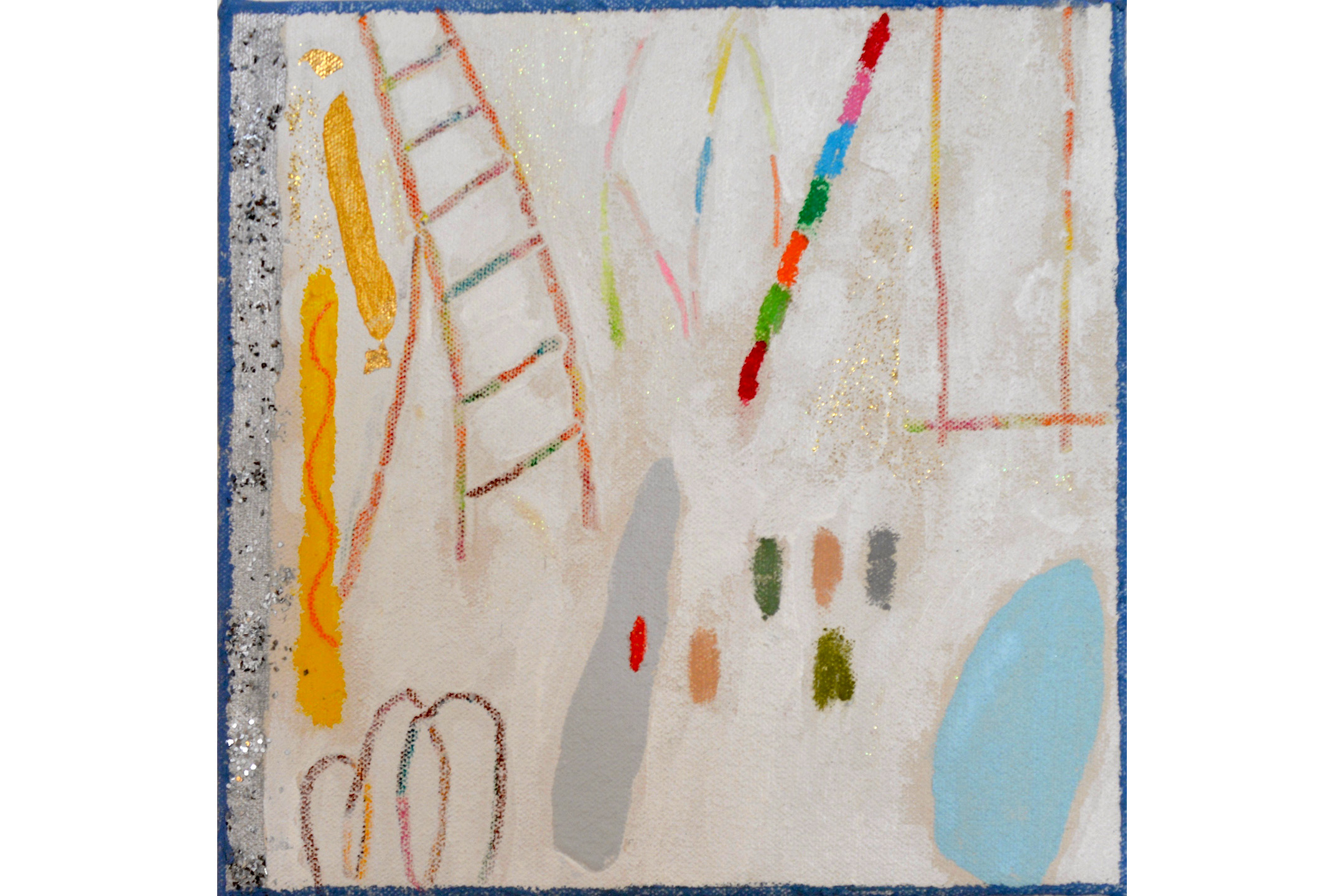 """Mitchell Lewis, Circus 2, Mixed media on canvas,8"""" x 8"""", 2016"""