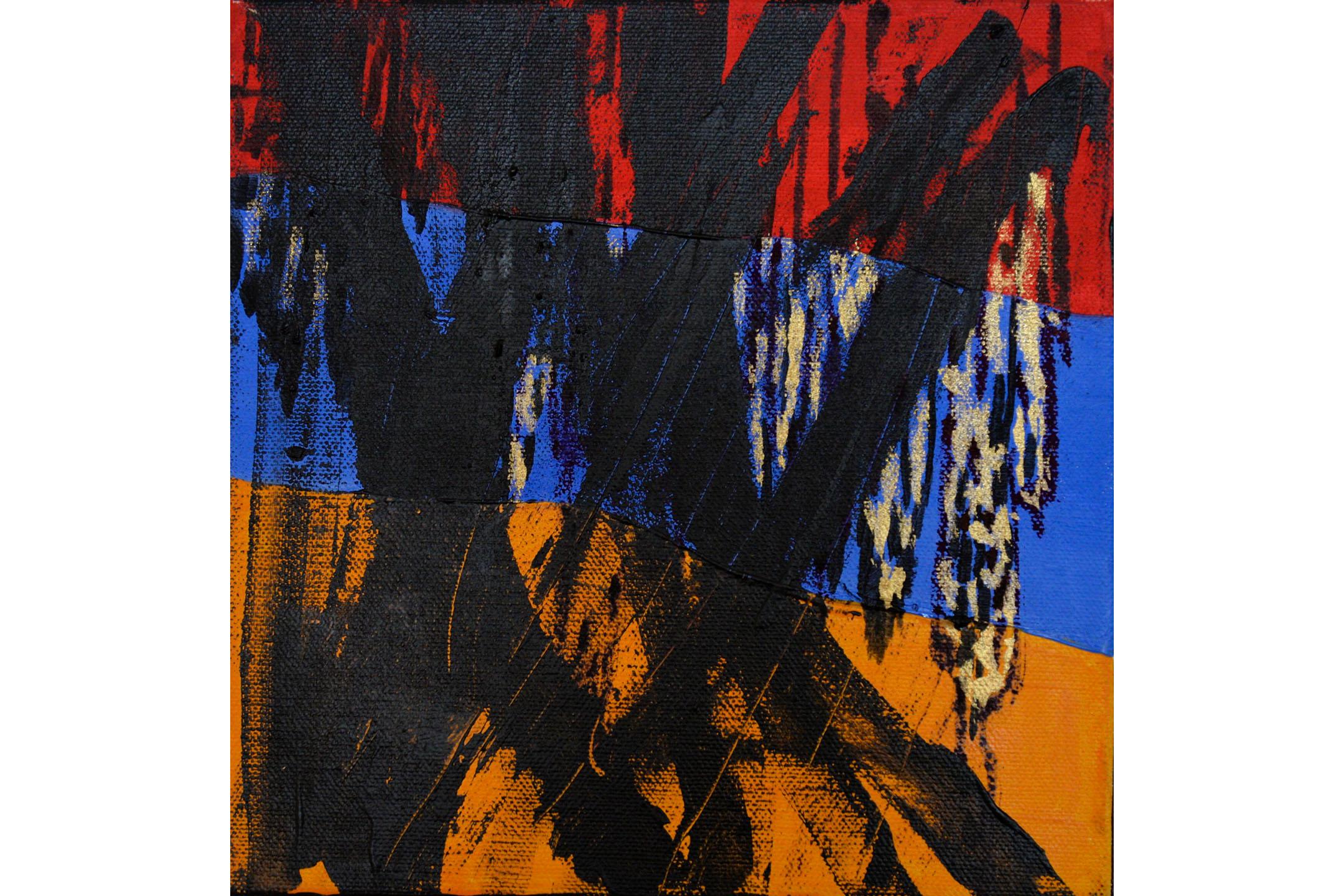 "Azita Ghafouri, Basics of Jane Jacobs 1, Mixed media on canvas, 8"" x 8"", 2016"