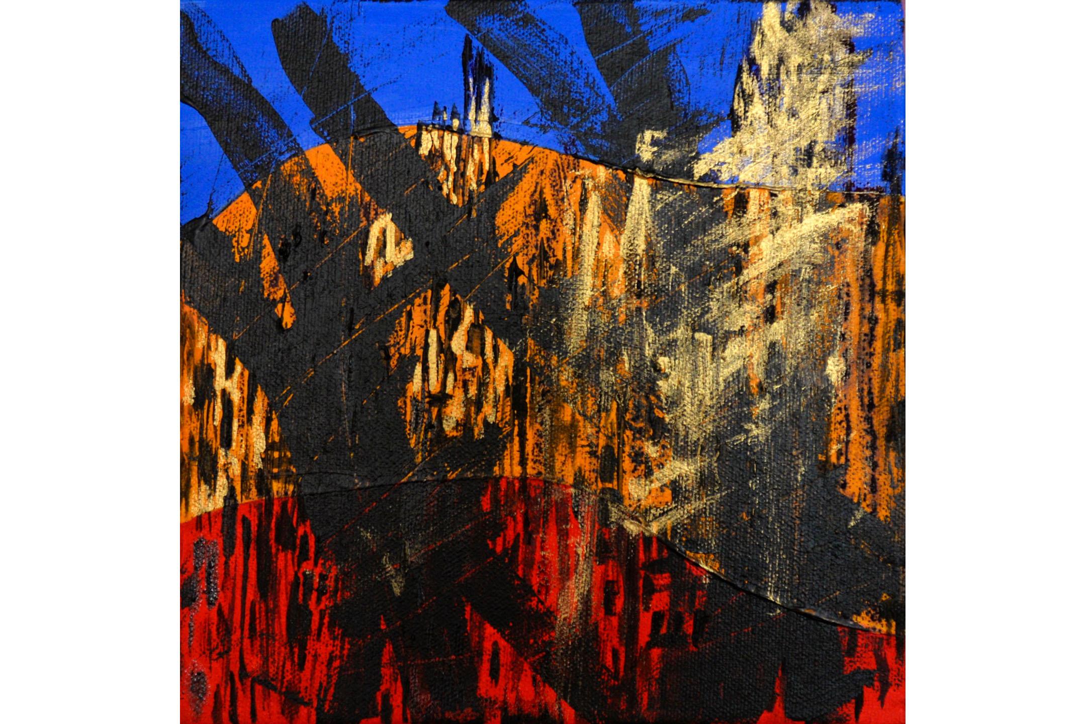 "Azita Ghafouri, Basics of Jane Jacobs 3, Mixed media on canvas, 8"" x 8"", 2016"