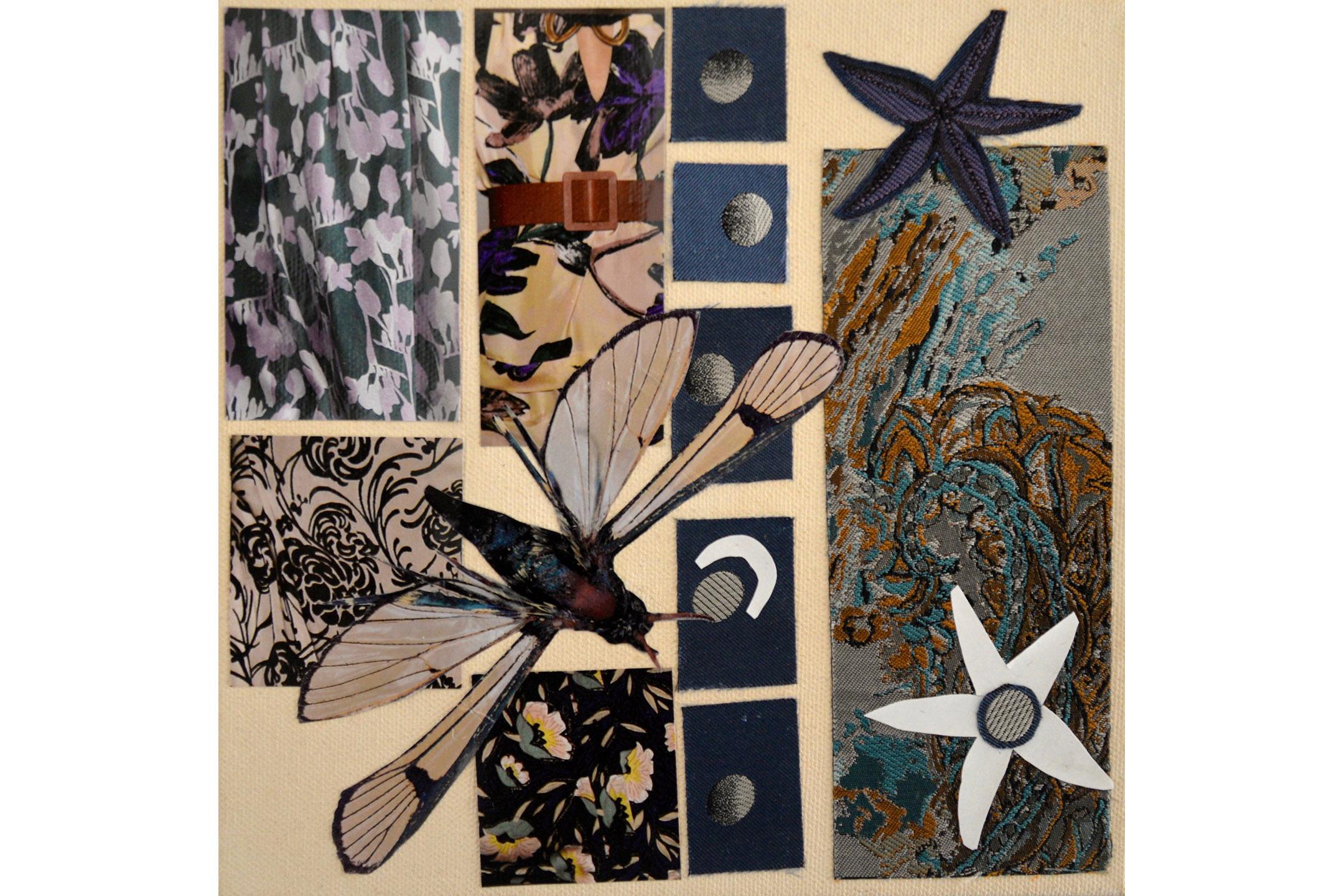 "Sara Petitt, Construction #2, Mixed media on canvas, 8"" x 8"", 2016"