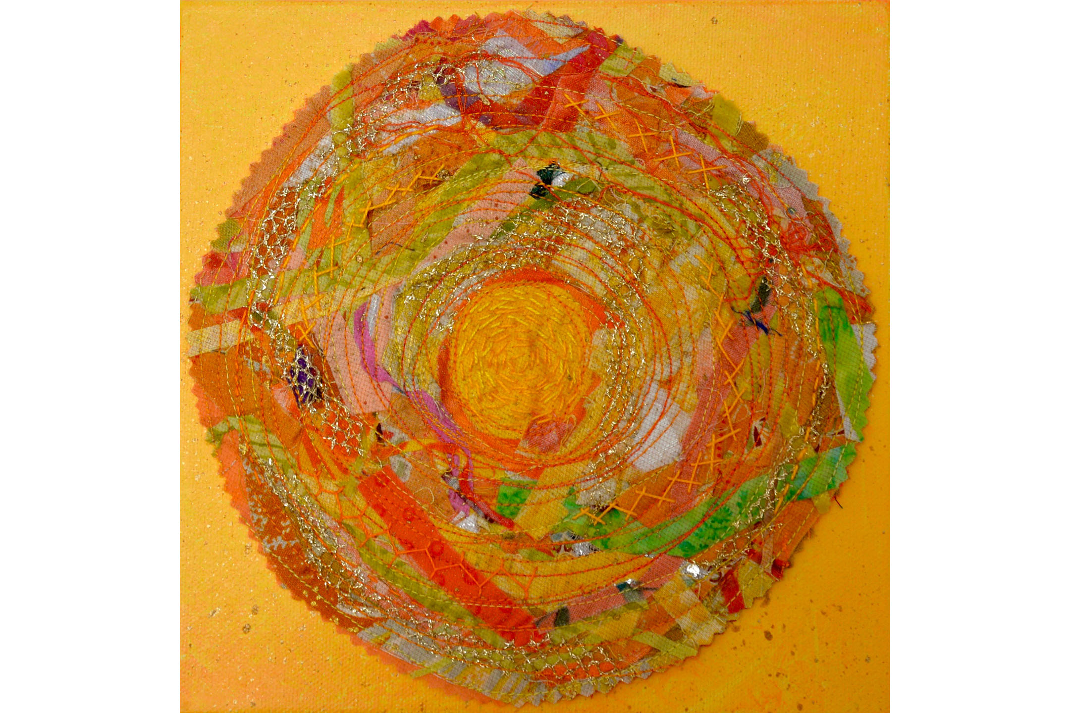 """Diane Rode Schneck, Here Comes the Sun, Mixed media on canvas, 8"""" x 8"""", 2016"""