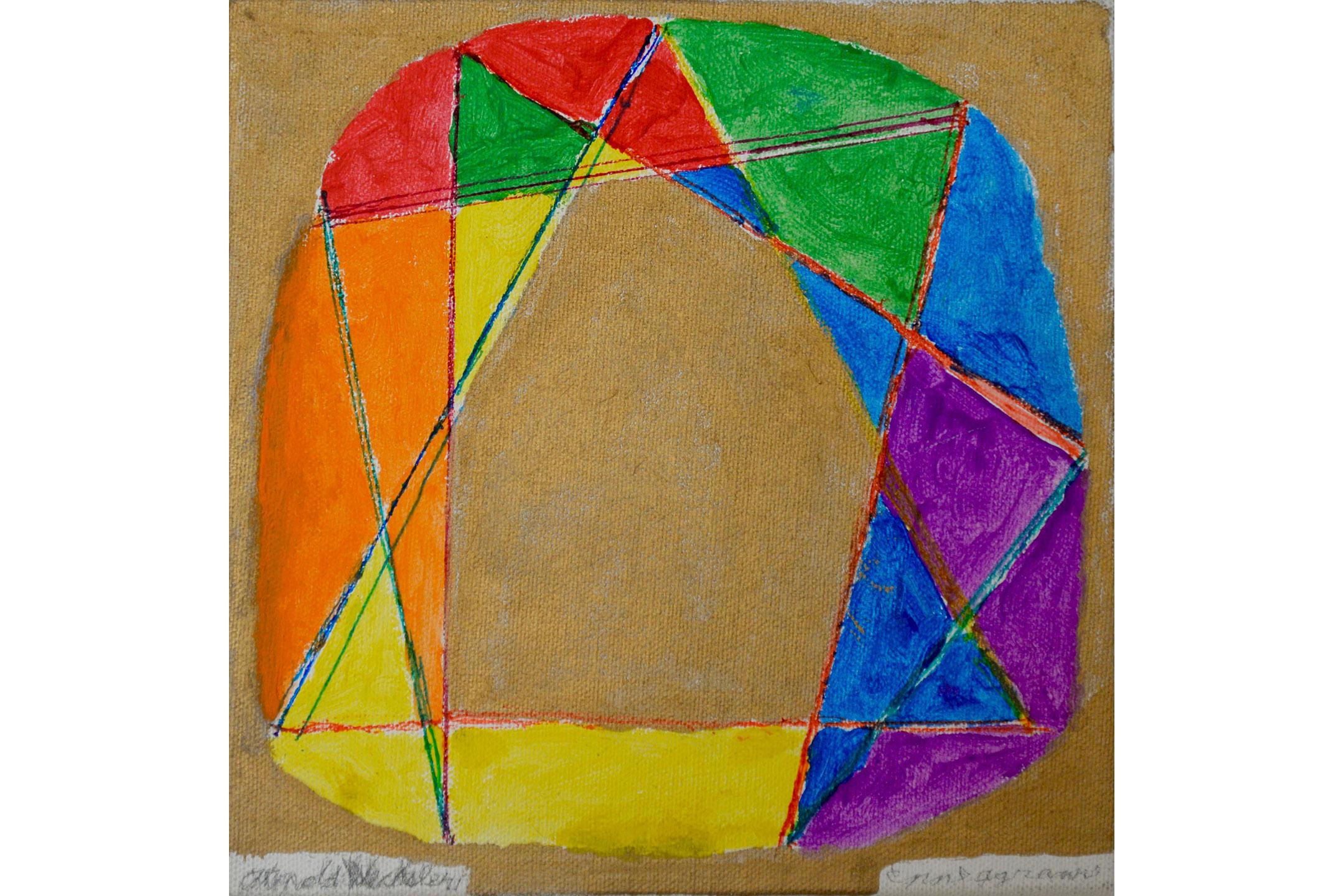 "Arnold Wechsler, Enneagrams, Mixed media on canvas, 8"" x 8"", 2016"