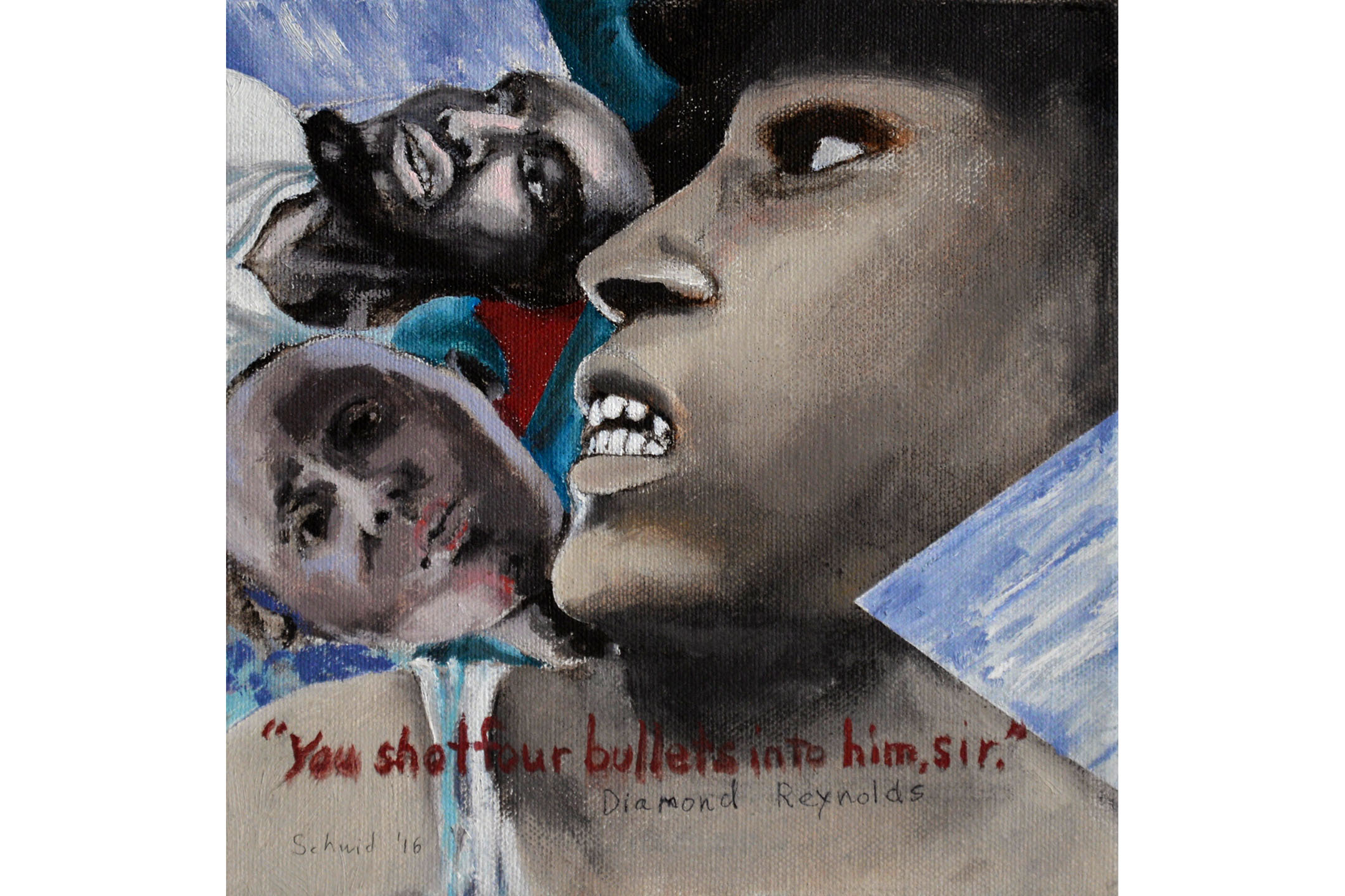 "Sheila Schwid, ""You shot four bullets into him, sir."", Oil on canvas, 8"" x 8"", 2016"