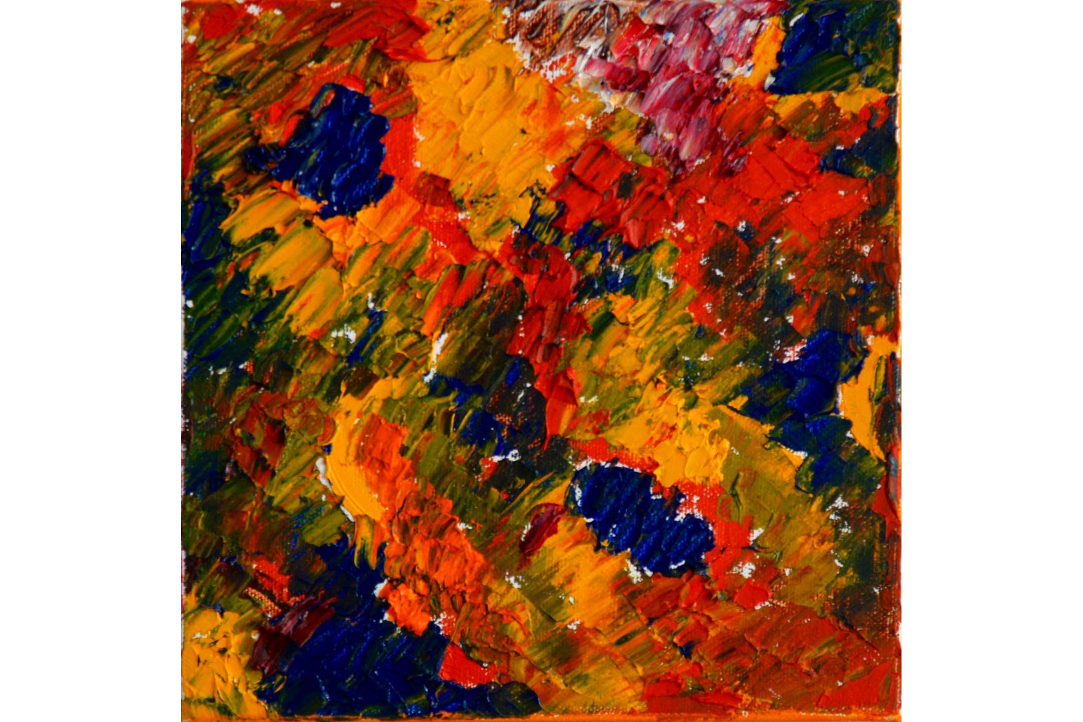 """Vera Sapozhnikova, Colors Play 1, Oil on canvas, 8"""" x 8"""", 2016"""