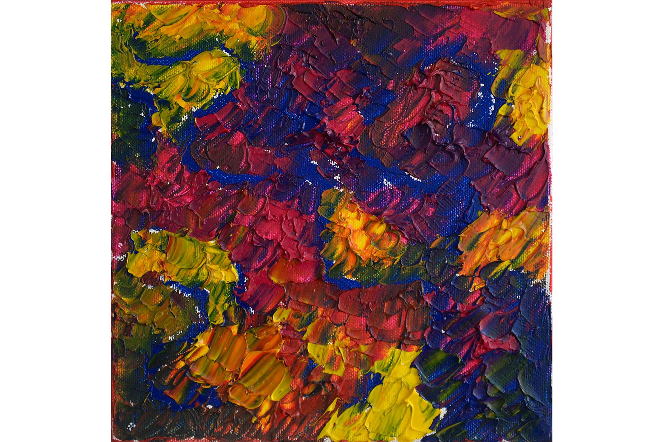 """Vera Sapozhnikova, Colors Play 5, Oil on canvas, 8"""" x 8"""", 2016"""