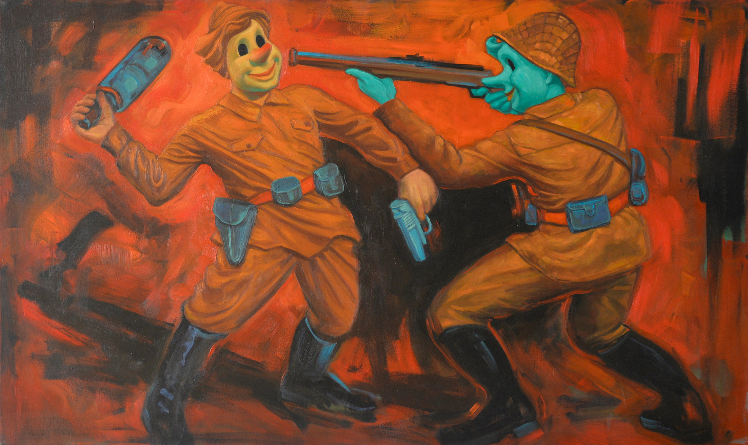 "Vicki Khuzami Wrath, Pinocchio and the Seven Deadly Sins Oil on canvas 36"" x 60"", 2015"