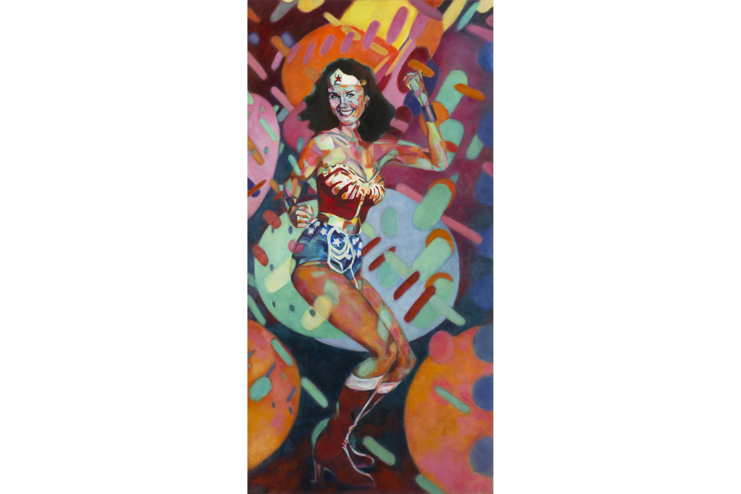 "Daena Title Wonder Woman at the Disco Oil, acrylic, pastels on canvas 48"" x 24"", 2016"