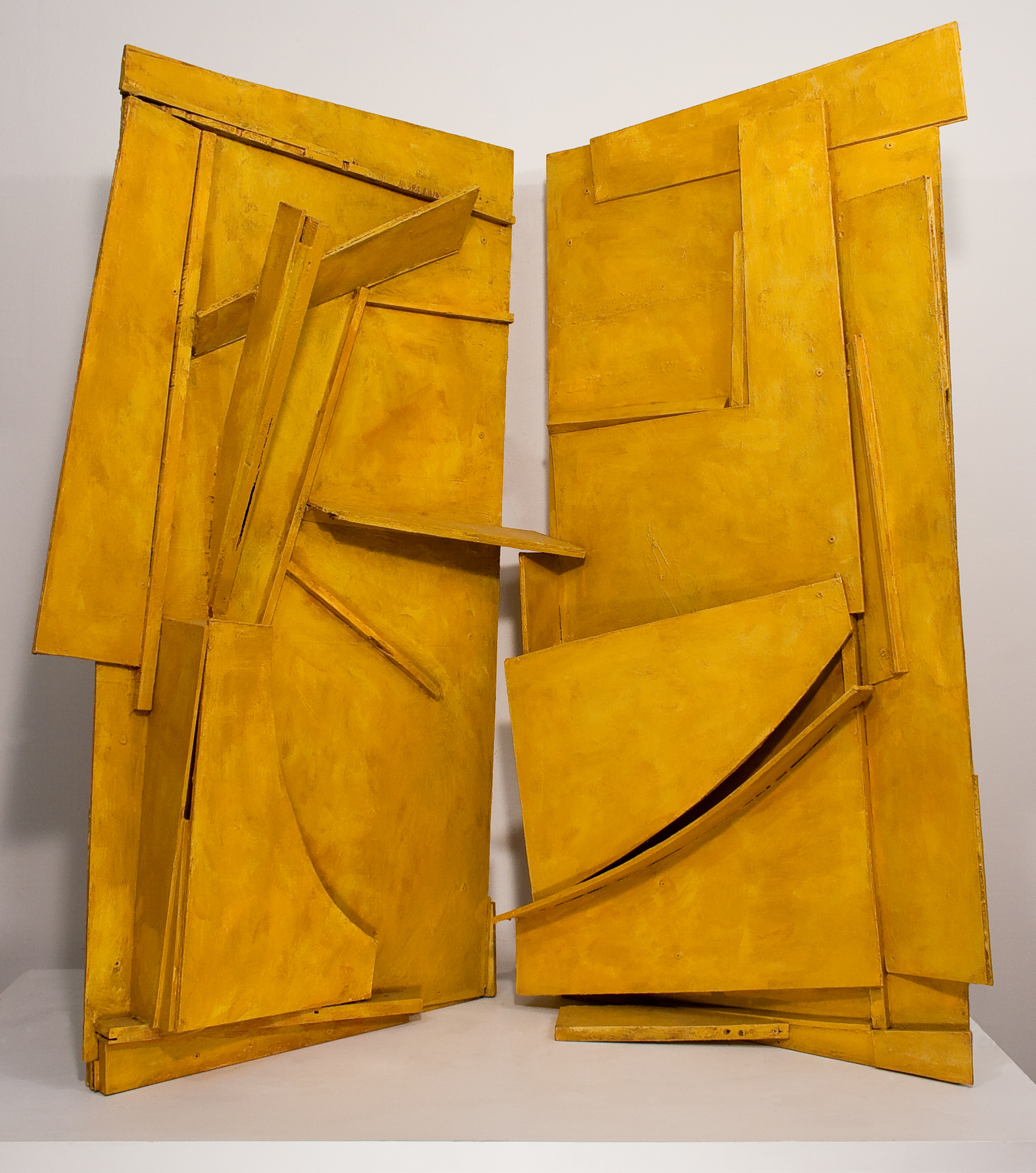 "Duet, found wood, acrylic, cement, ochre, 50"" x 64"" x 42"", 2014"