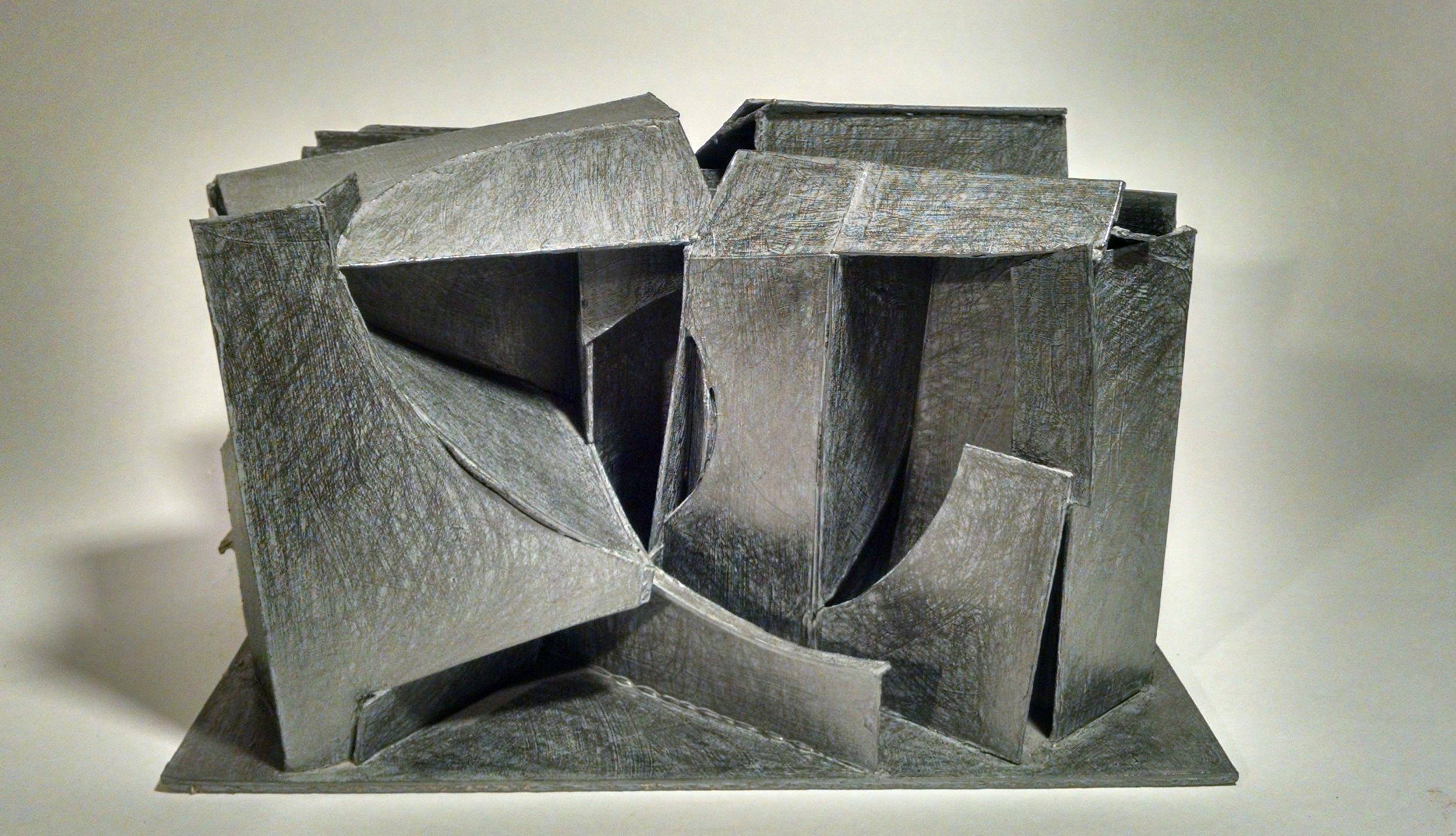 """Maze, archival mat board, gesso, graphite, 10"""" x 15"""" x 13"""", 2014"""