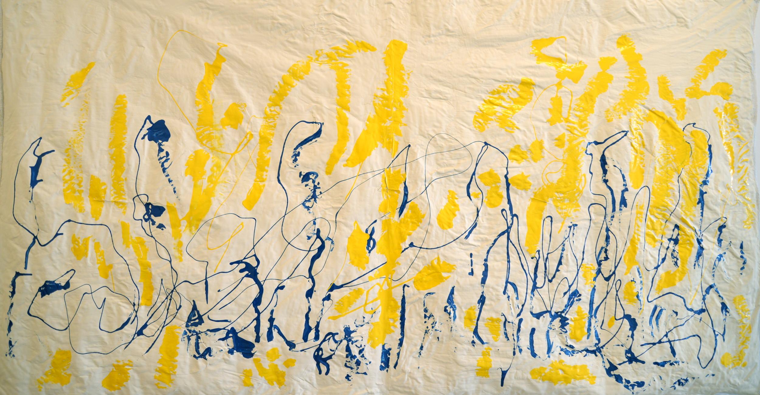 "Just Blues, mixed media on silk, 40"" x 72"", 2015"