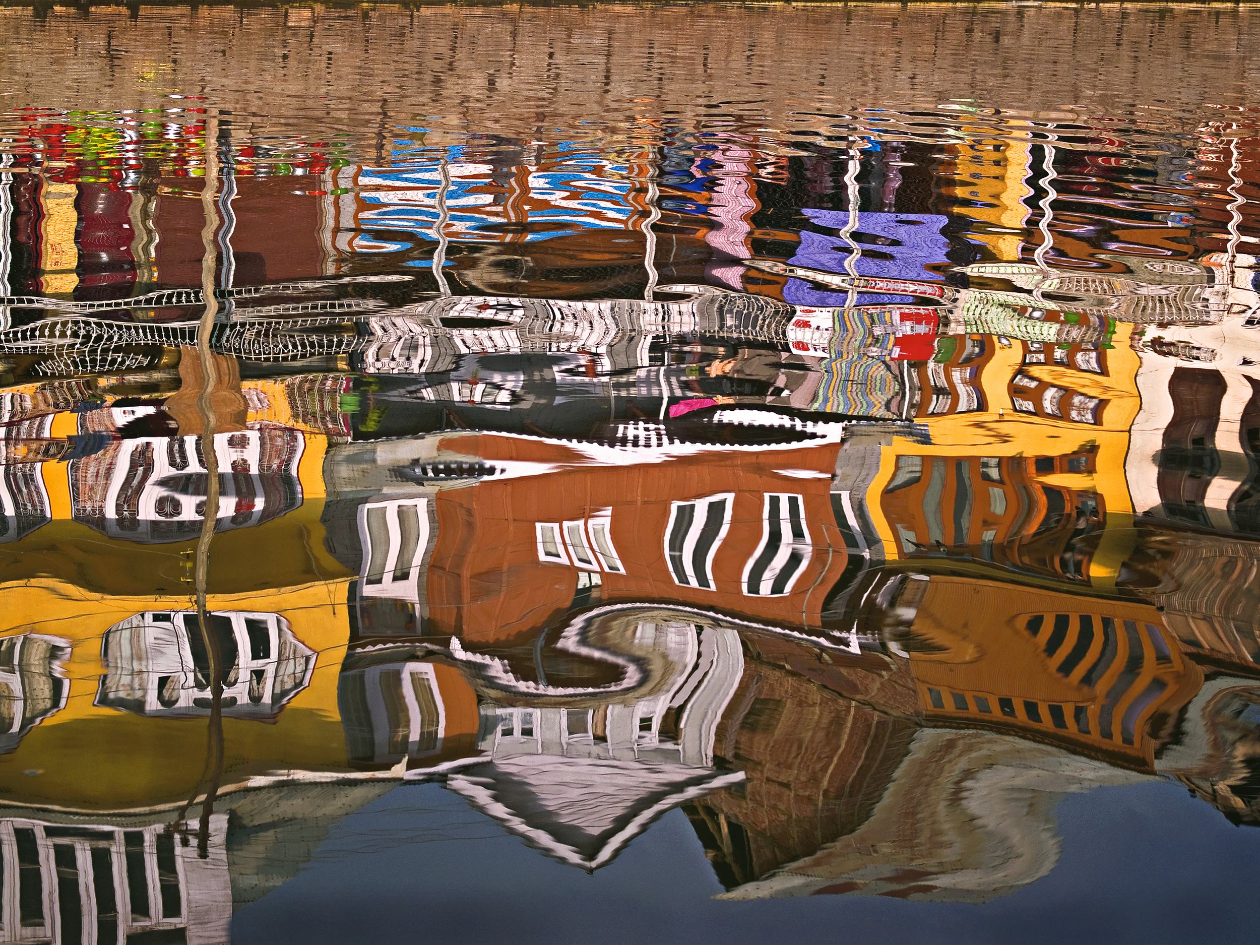 """""""Crooked House""""  Reflection of houses in Dal Lake, Kashmir"""